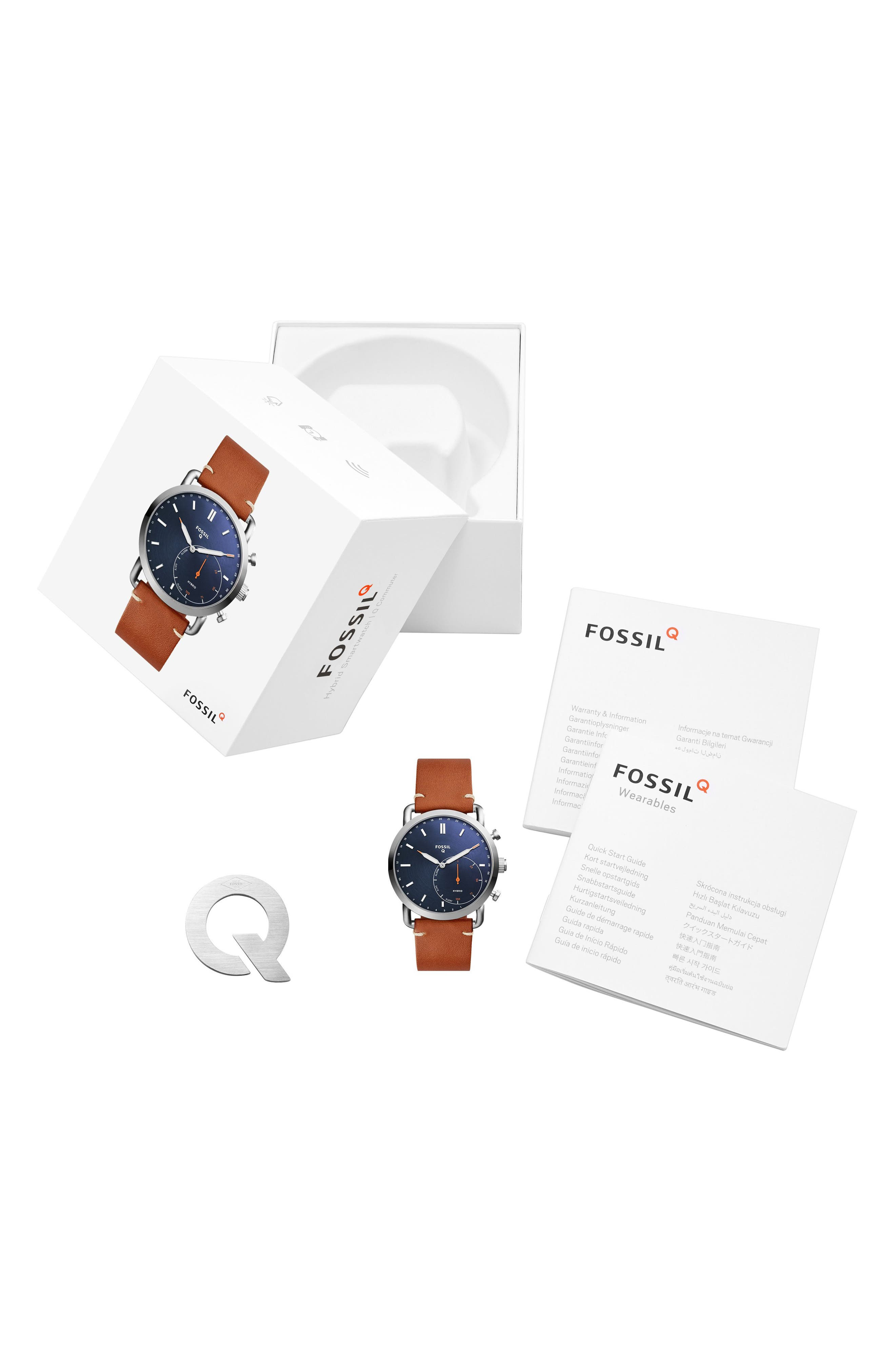 Commuter Leather Strap Hybrid Smart Watch, 42mm,                             Alternate thumbnail 3, color,                             Brown/ Blue/ Silver