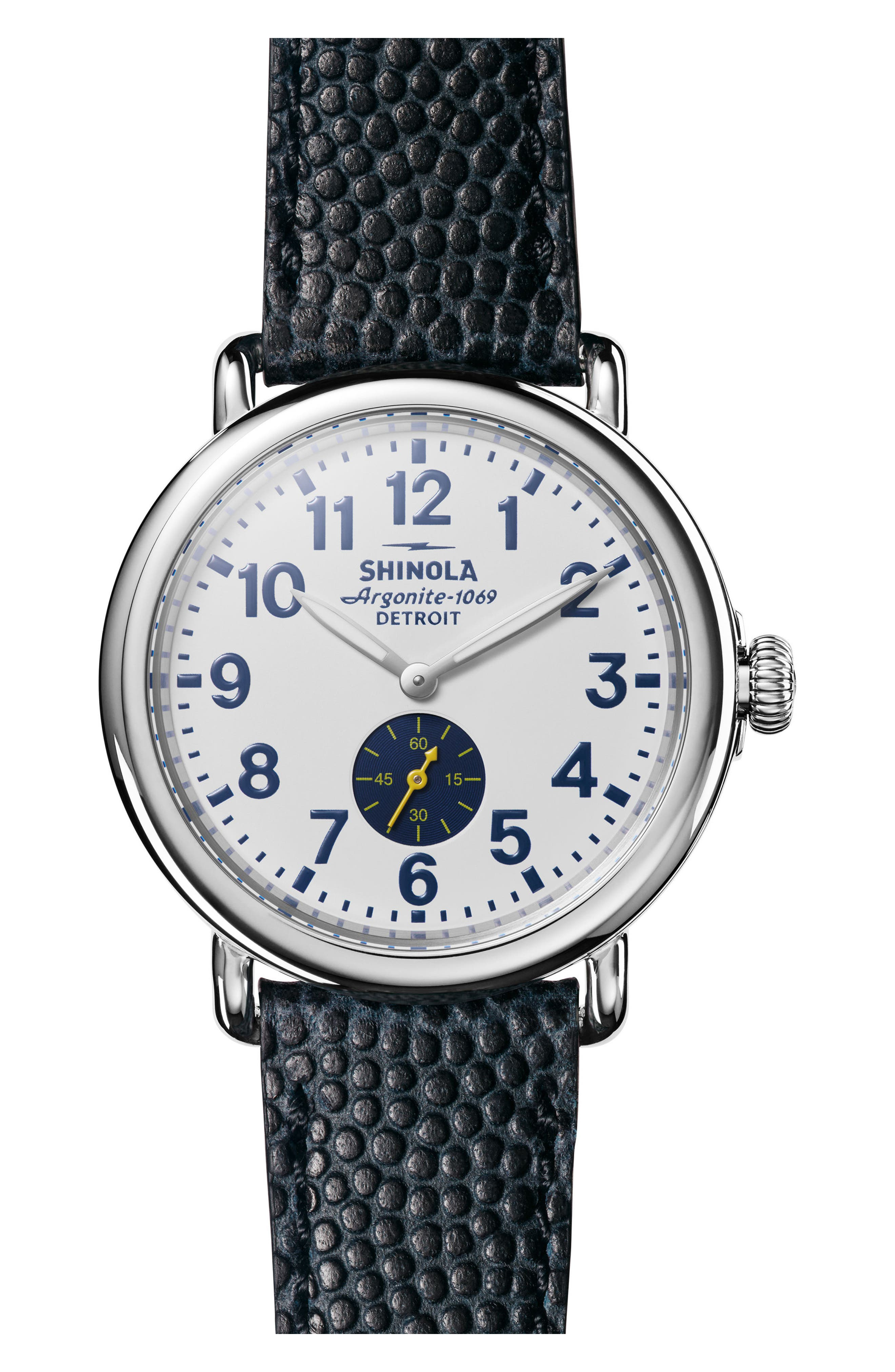 'The Runwell' Leather Strap Watch, 41mm,                         Main,                         color, Navy/ White/ Silver