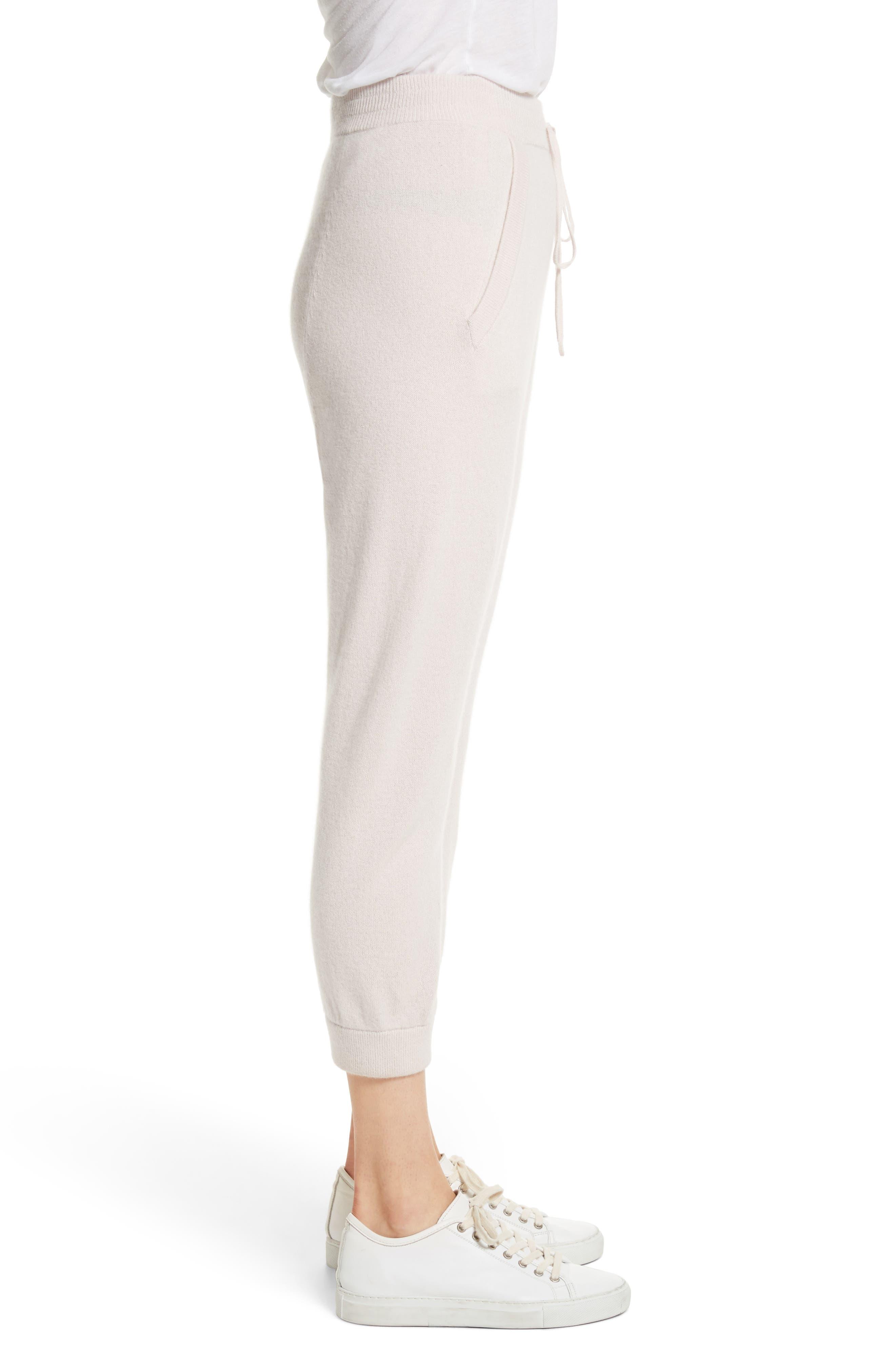 Janina Cashmere Crop Lounge Pants,                             Alternate thumbnail 4, color,                             Blush