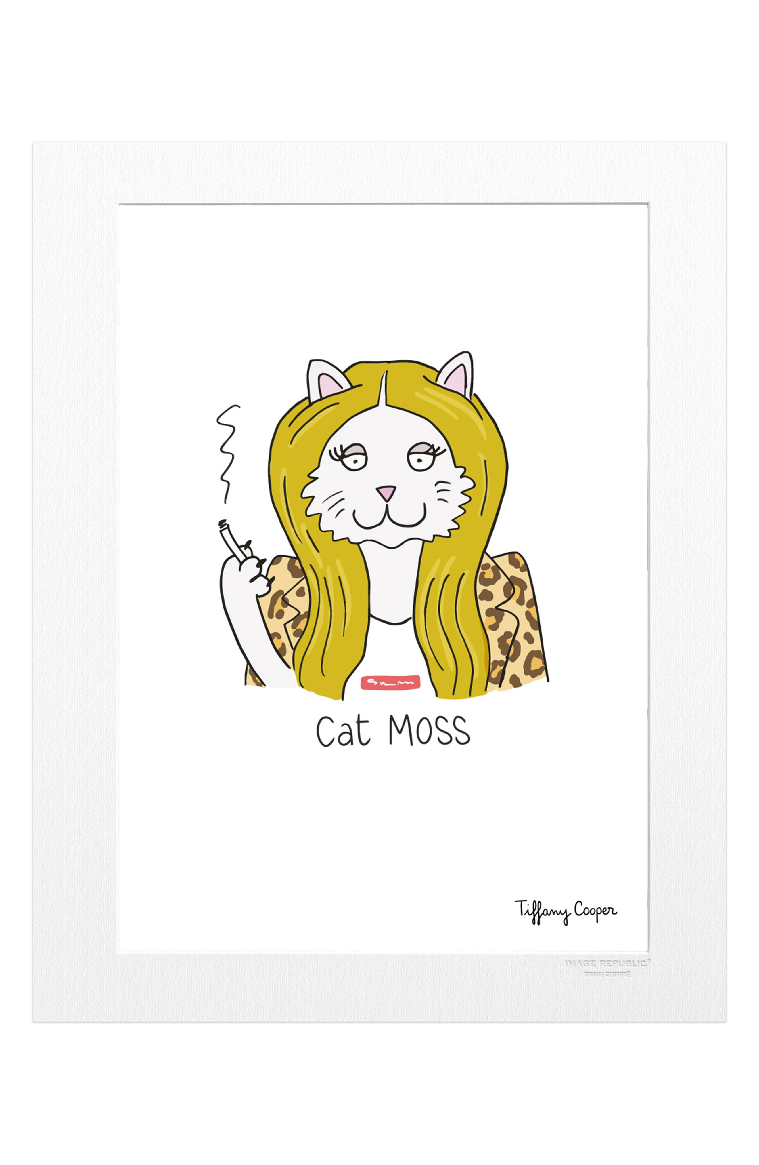 Tiffany Cat Moss Print,                         Main,                         color, White