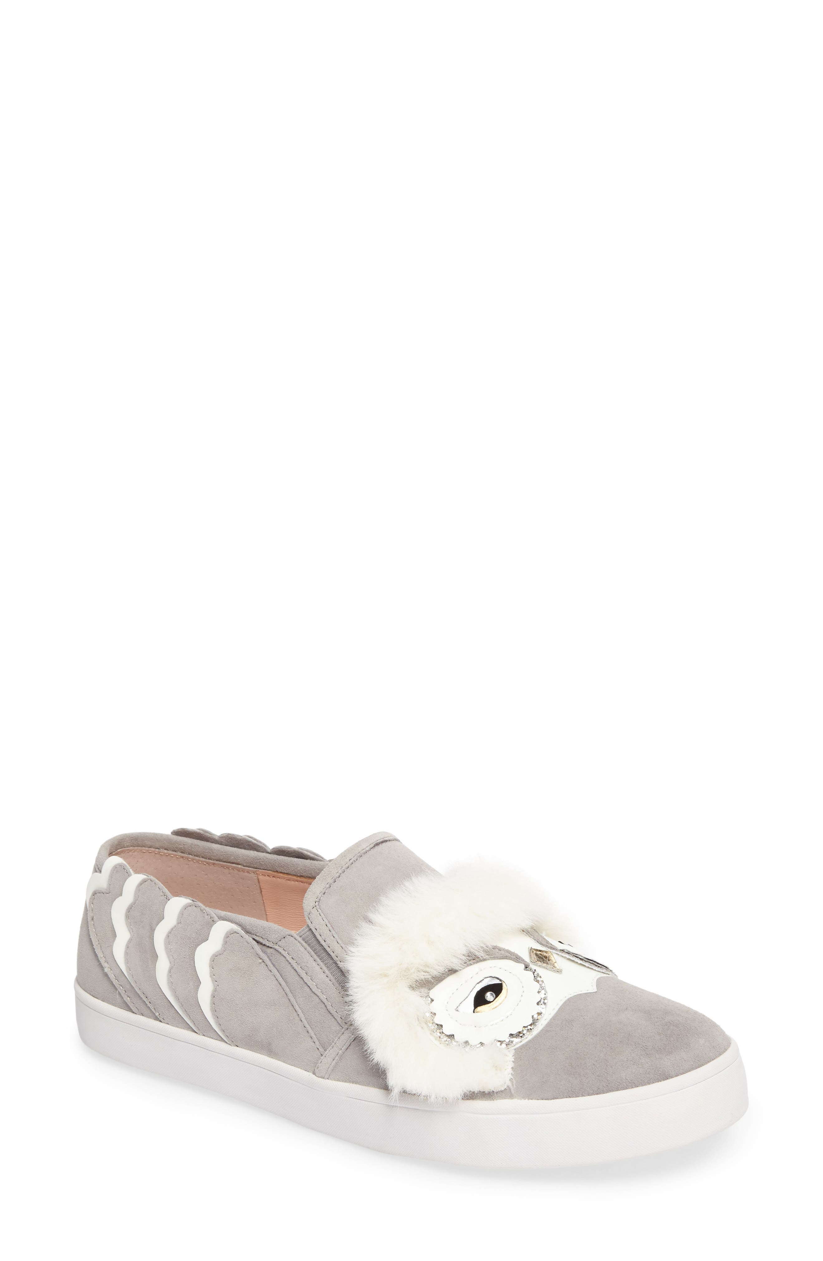 kate spade new york leferts faux fur trim slip-on sneaker (Women)