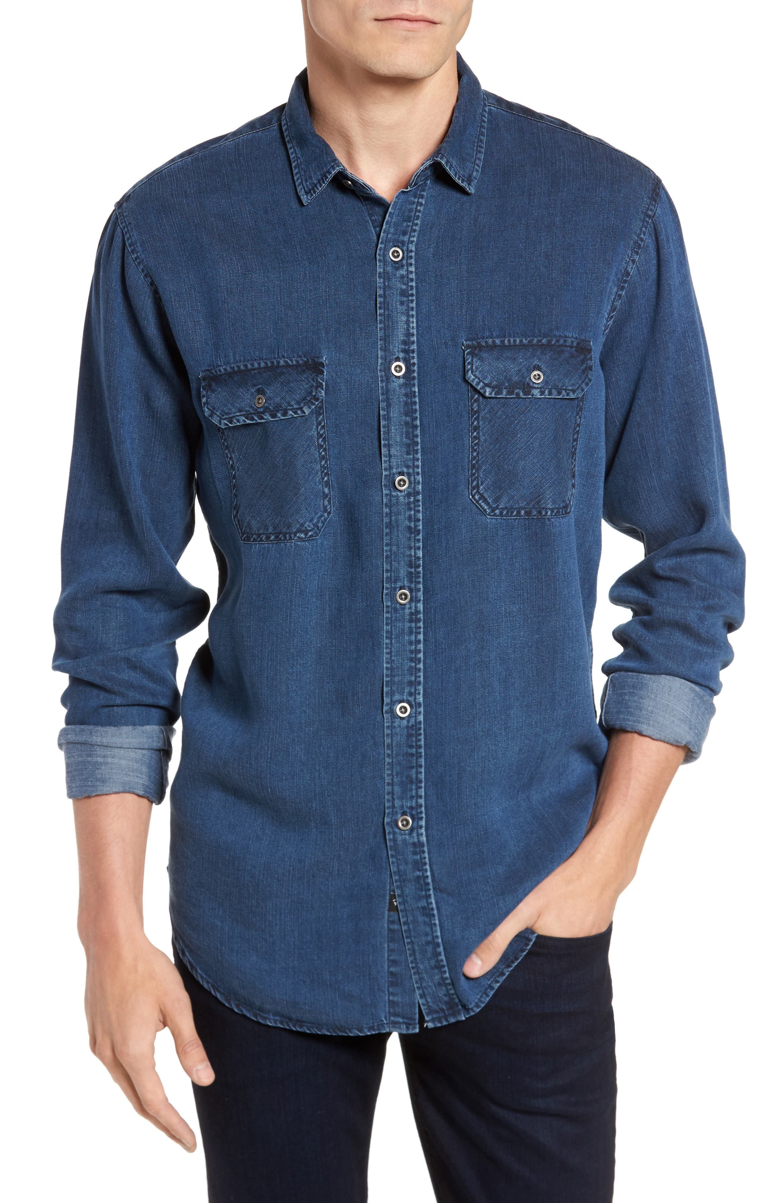 Beckford Denim Sport Shirt,                         Main,                         color, Midnight Vintage