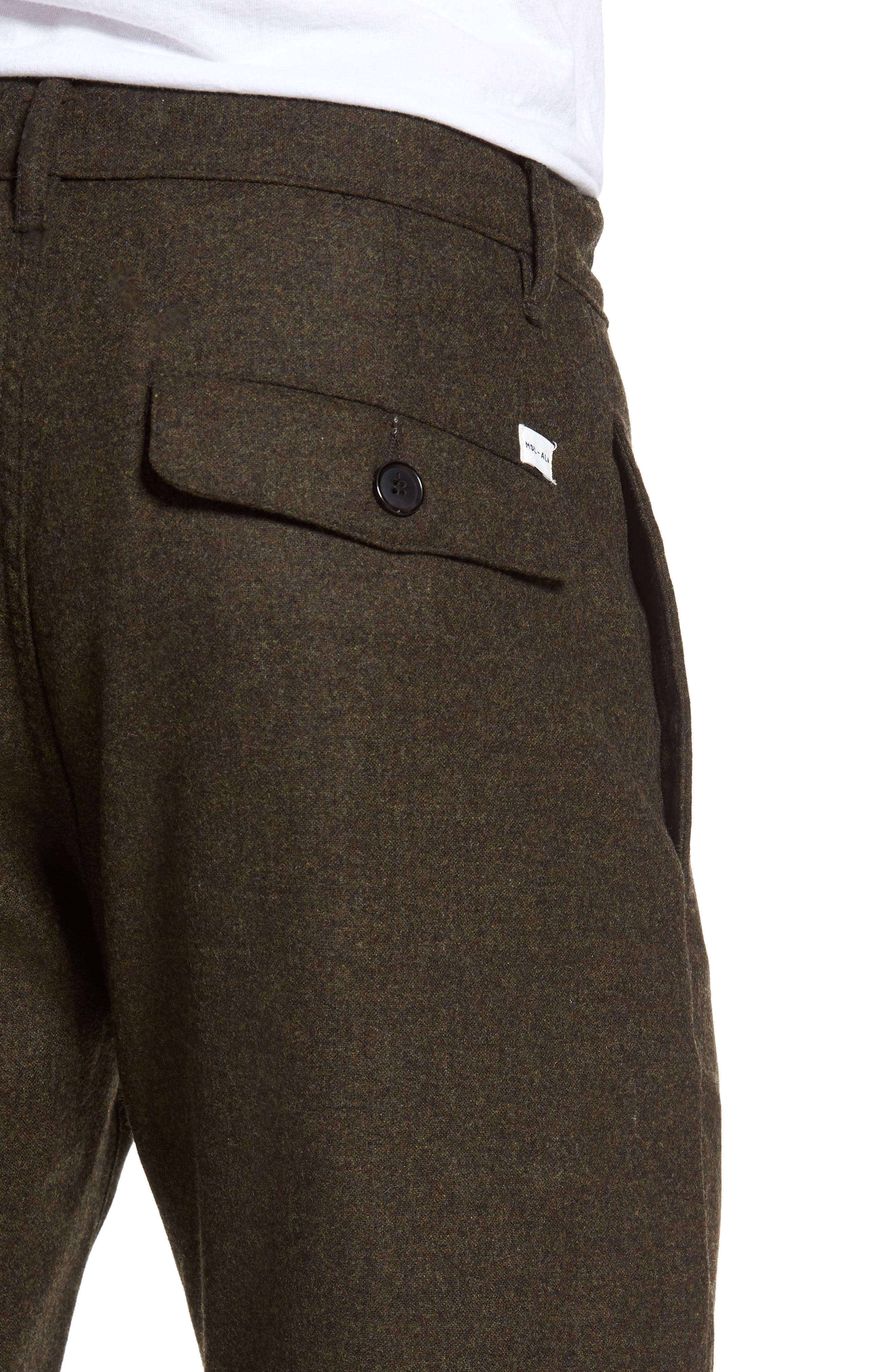 Wool & Cashmere Slim Straight Leg Chinos,                             Alternate thumbnail 4, color,                             Military