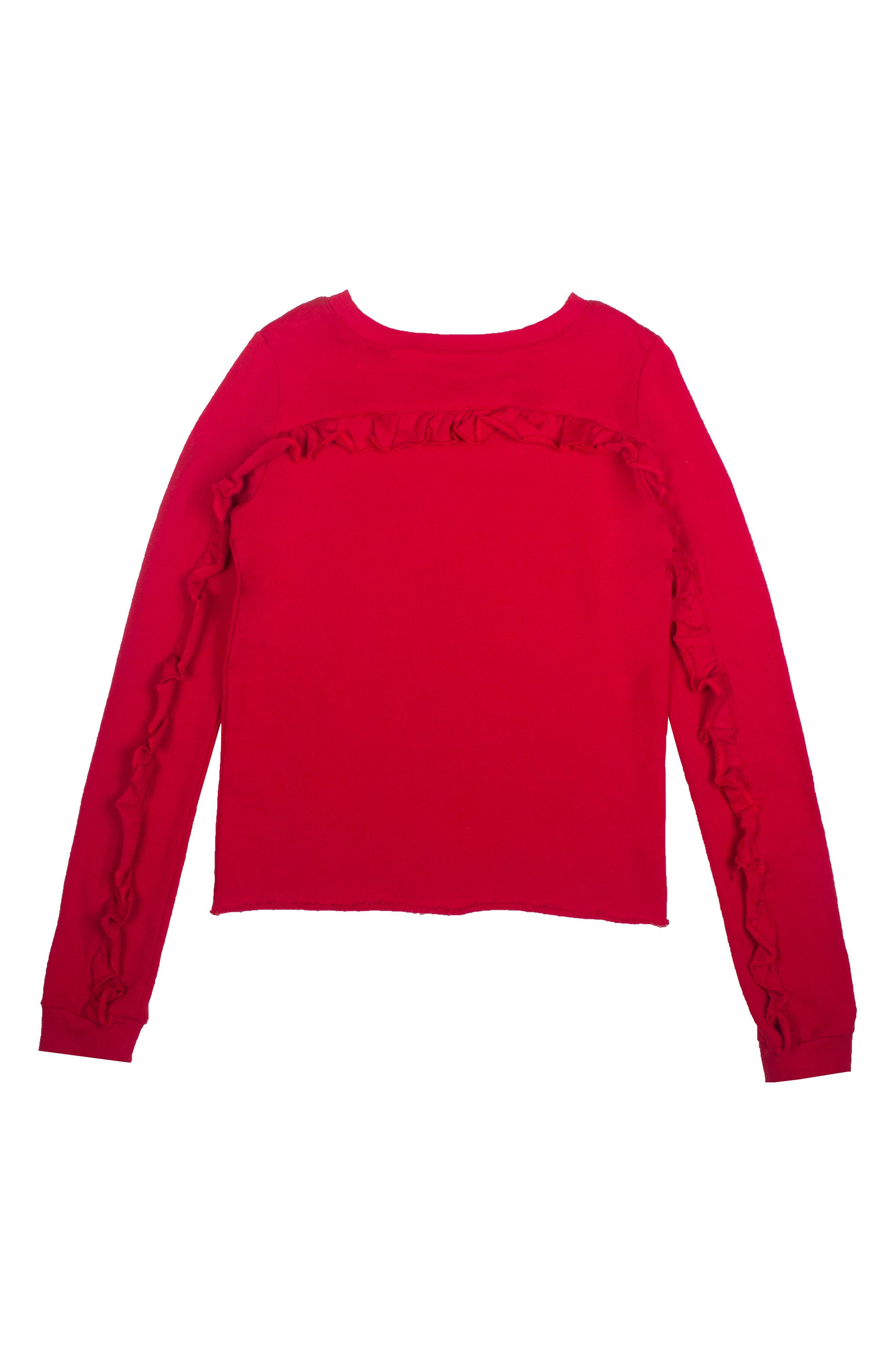 Ruffle Sweatshirt,                             Main thumbnail 1, color,                             Red Rose