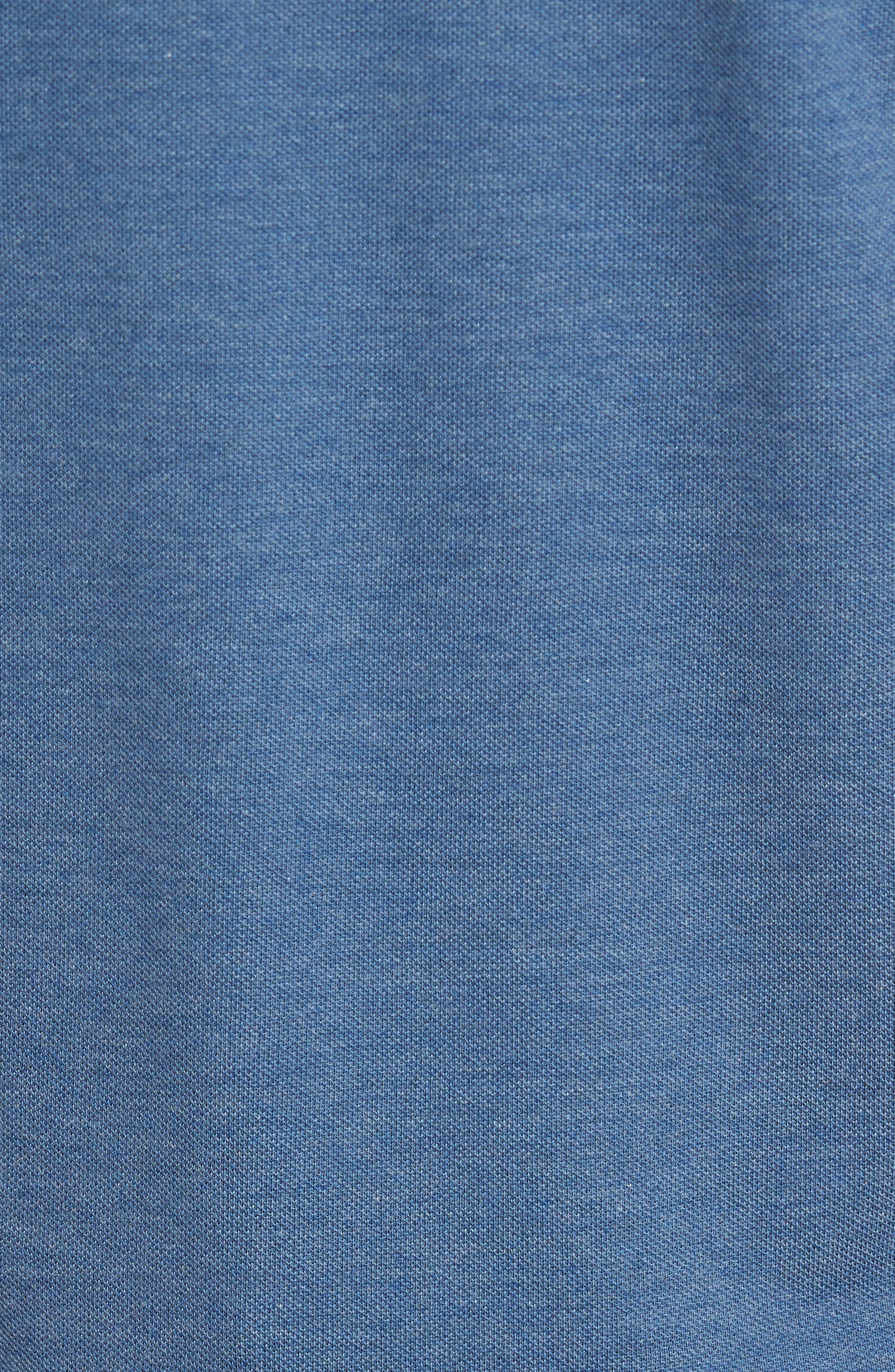 Slim Fit Piqué Polo,                             Alternate thumbnail 5, color,                             Denim Blue Jeans