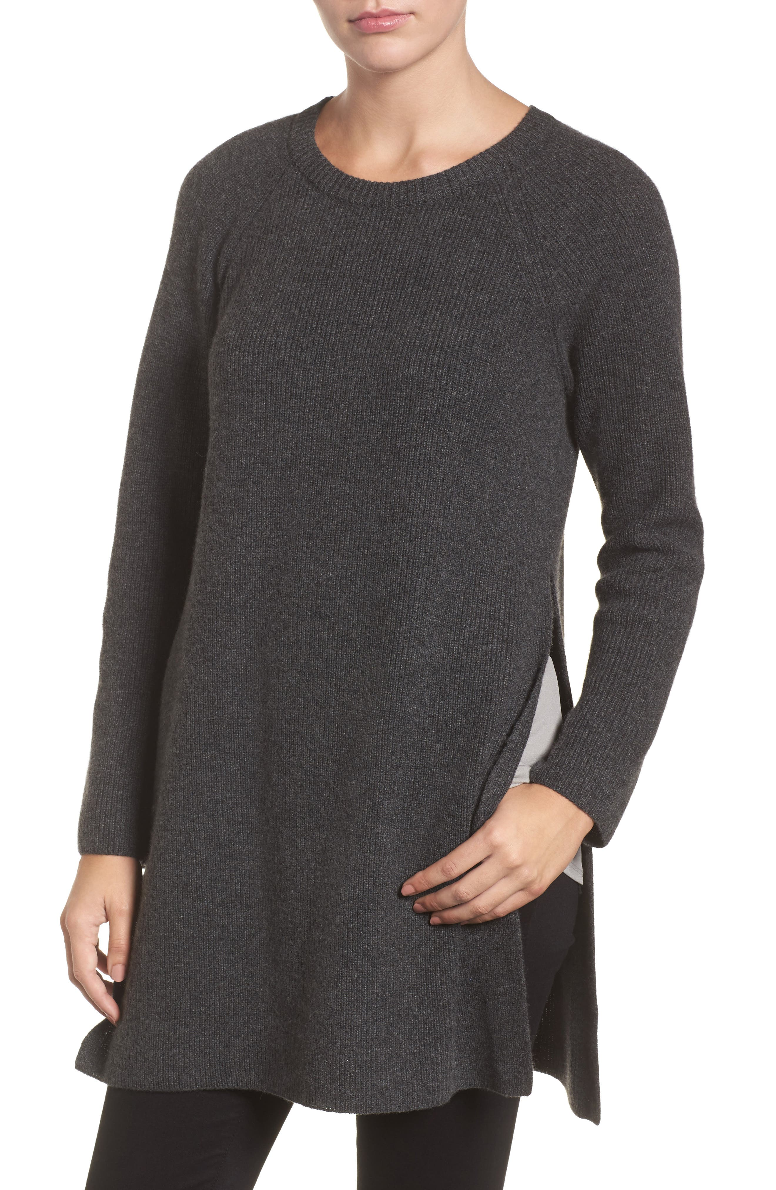 Cashmere Tunic Sweater,                         Main,                         color, Charcoal