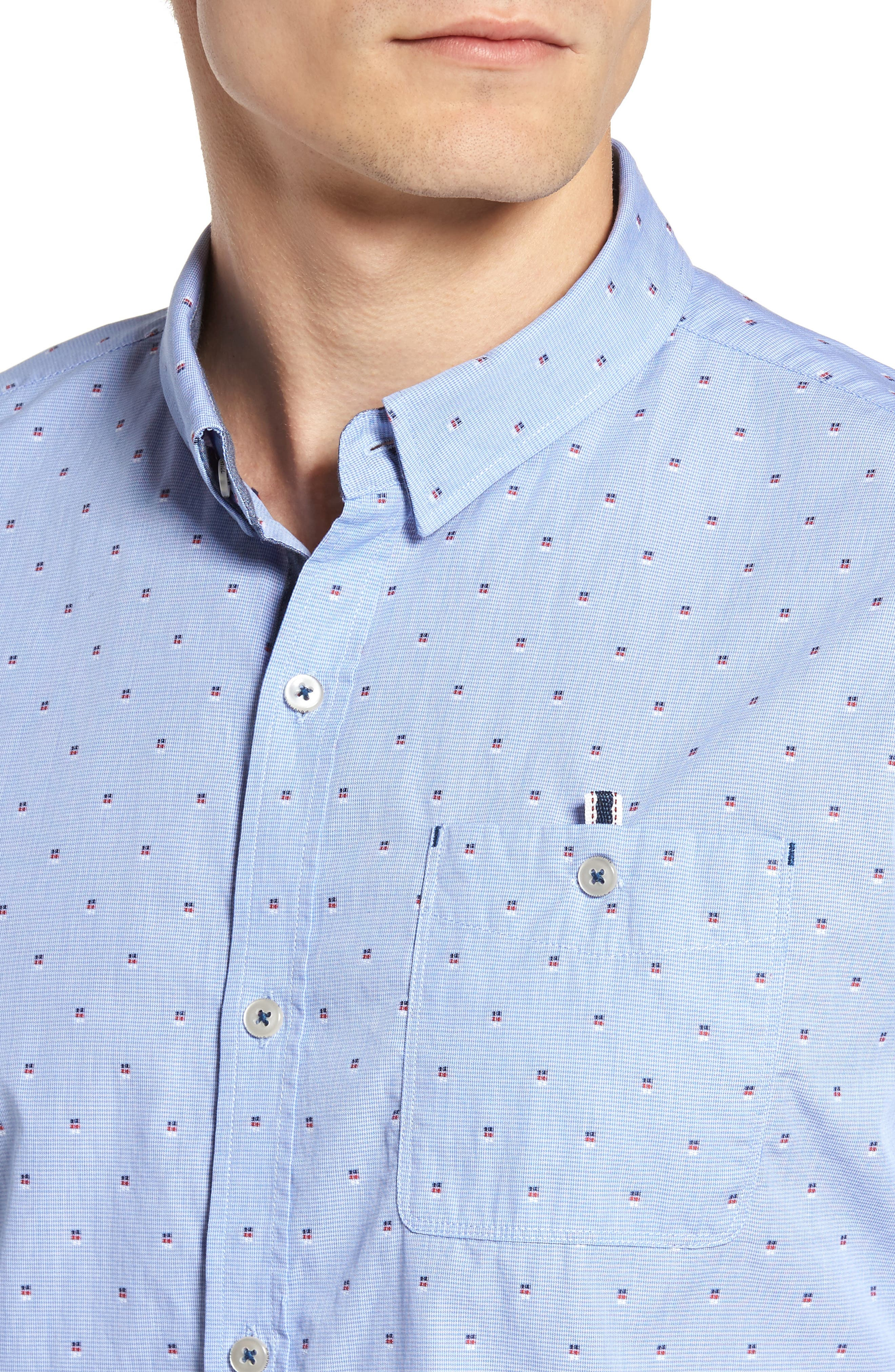 Double Feature Short Sleeve Sport Shirt,                             Alternate thumbnail 4, color,                             Light Blue