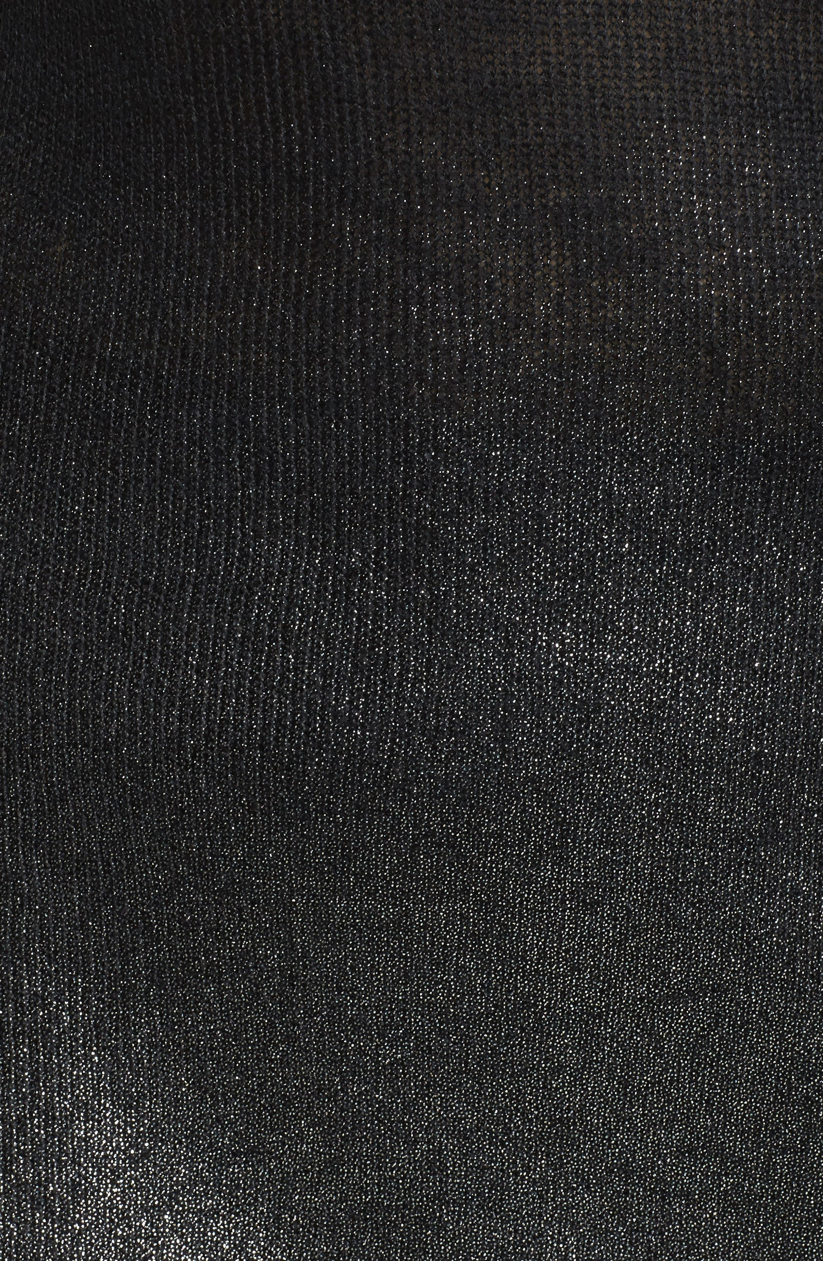Asymmetrical Metallic Ombré Sweater,                             Alternate thumbnail 5, color,                             Rich Black