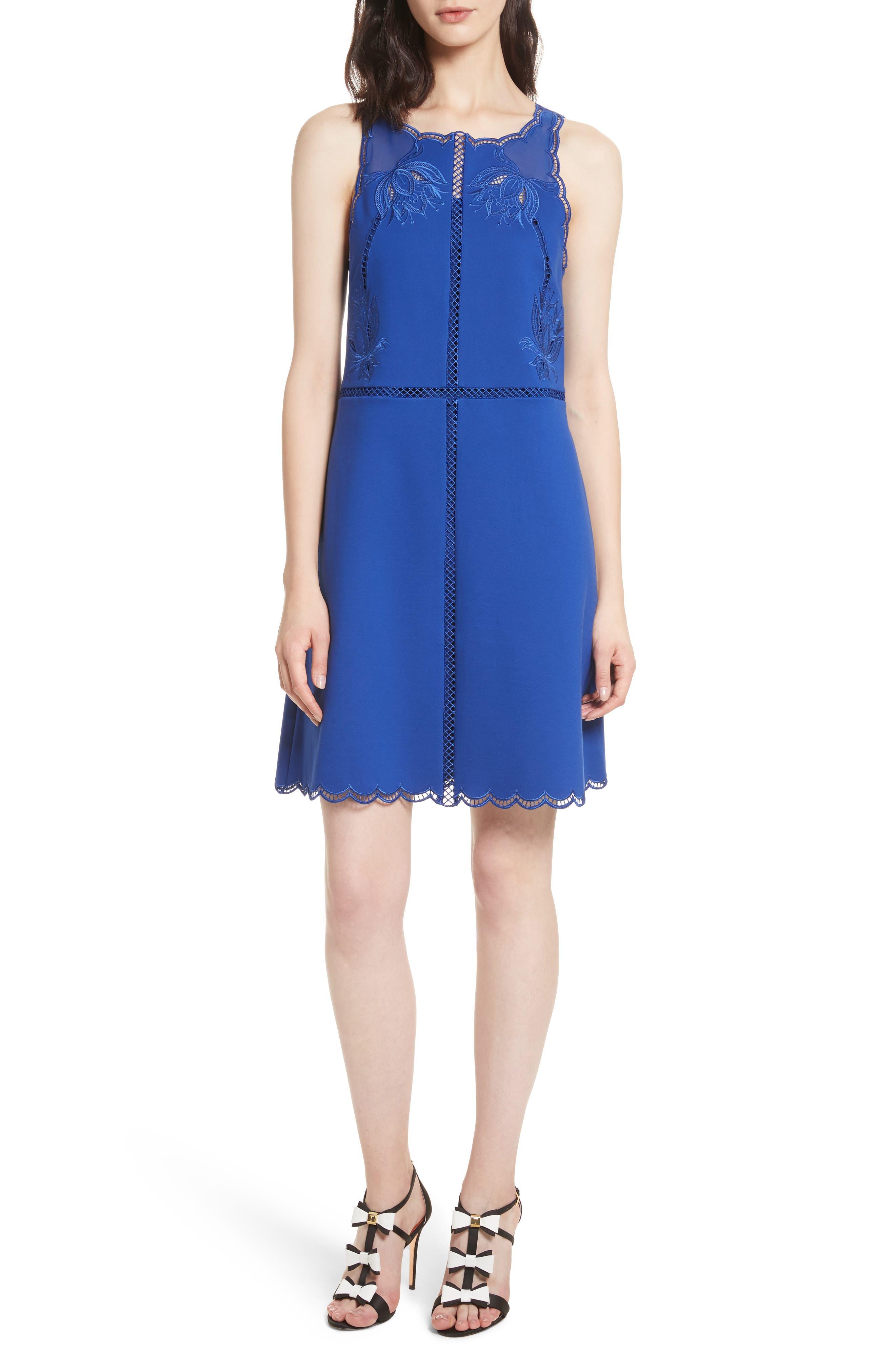 Codi Embroidered Scallop A-Line Dress,                         Main,                         color, Mid Blue