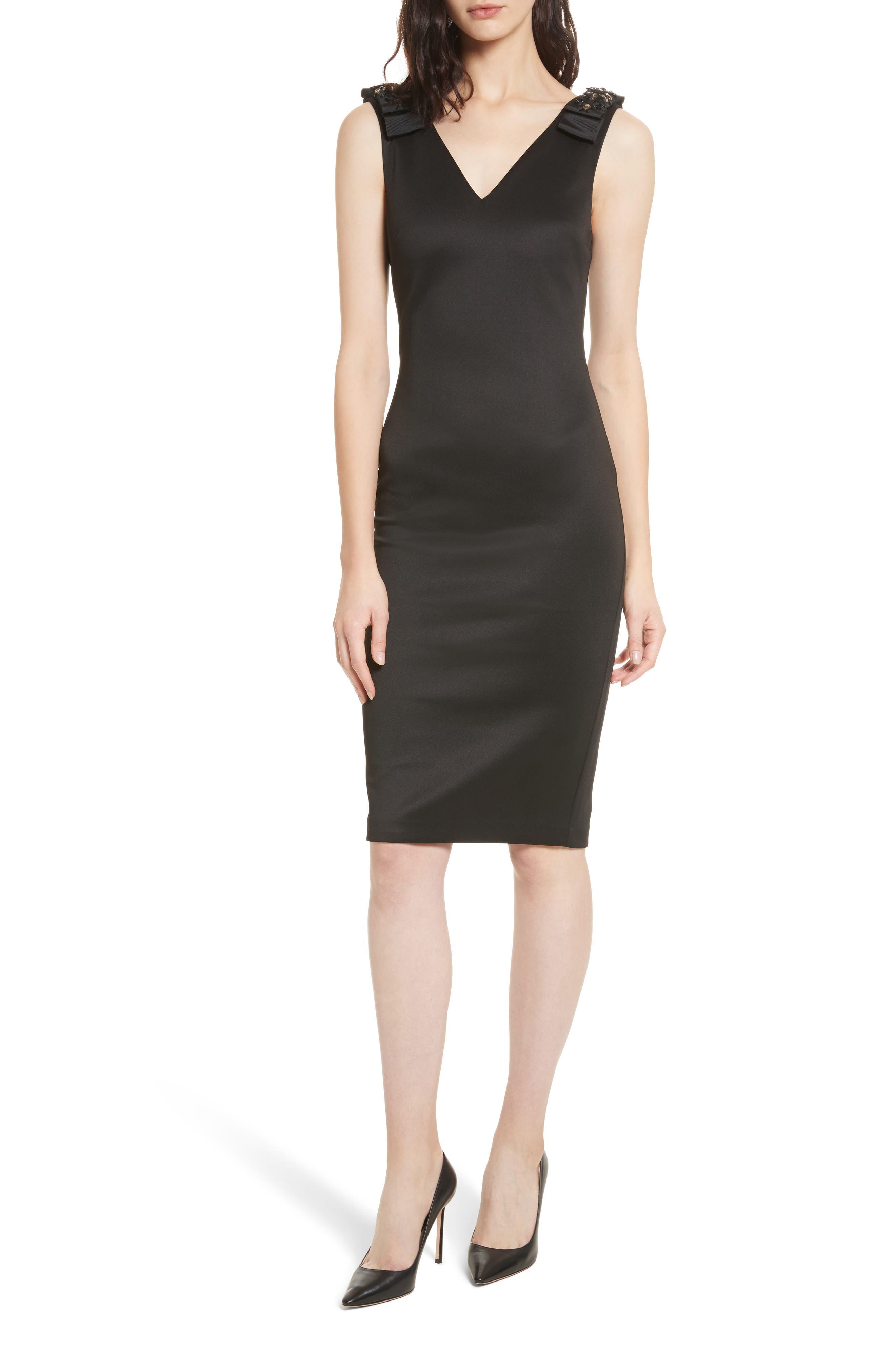 Belliah Bow Shoulder Body-Con Dress,                         Main,                         color, Black