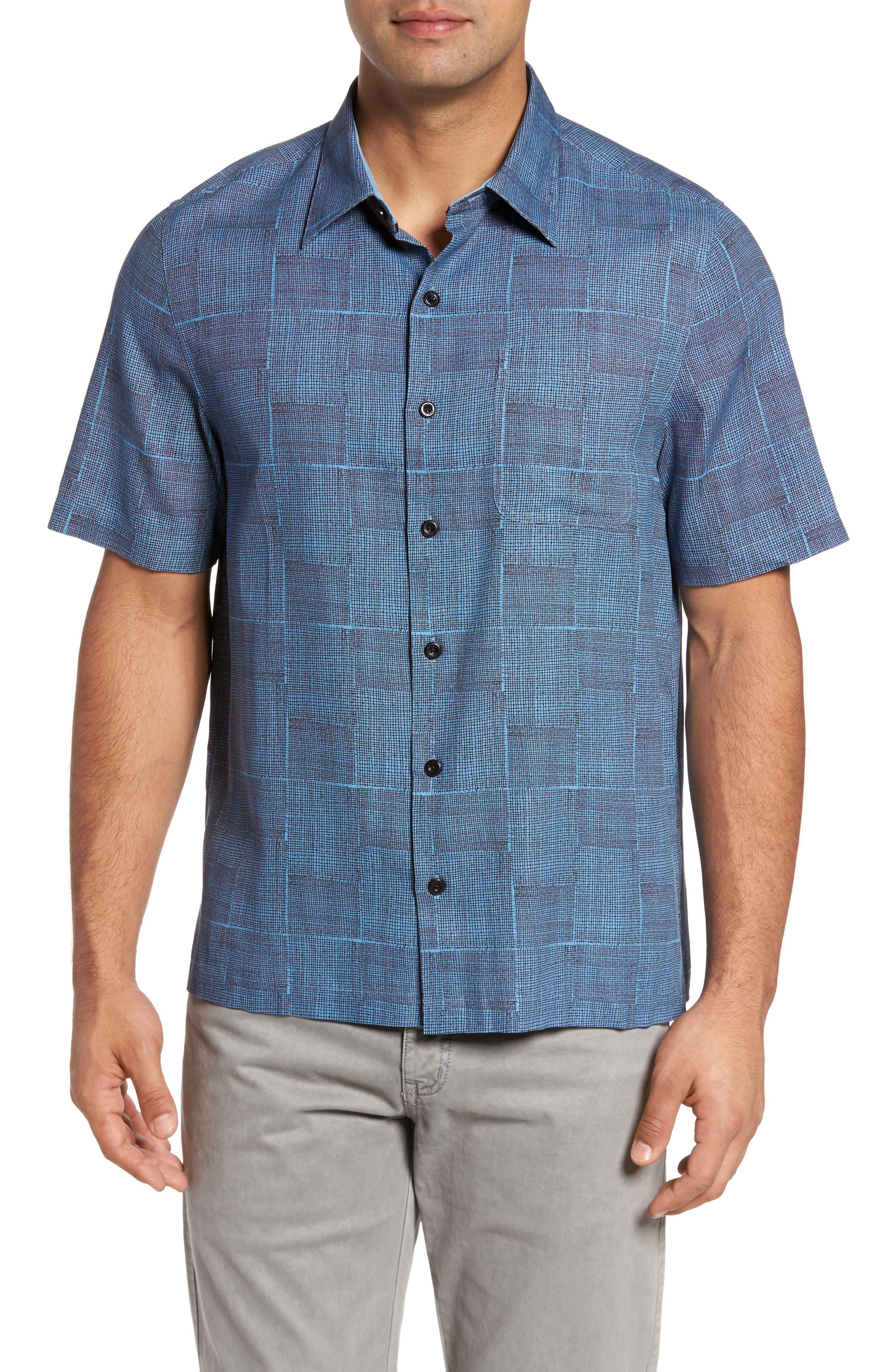 Alta Classic Fit Silk Blend Camp Shirt,                         Main,                         color, Icicle Blue
