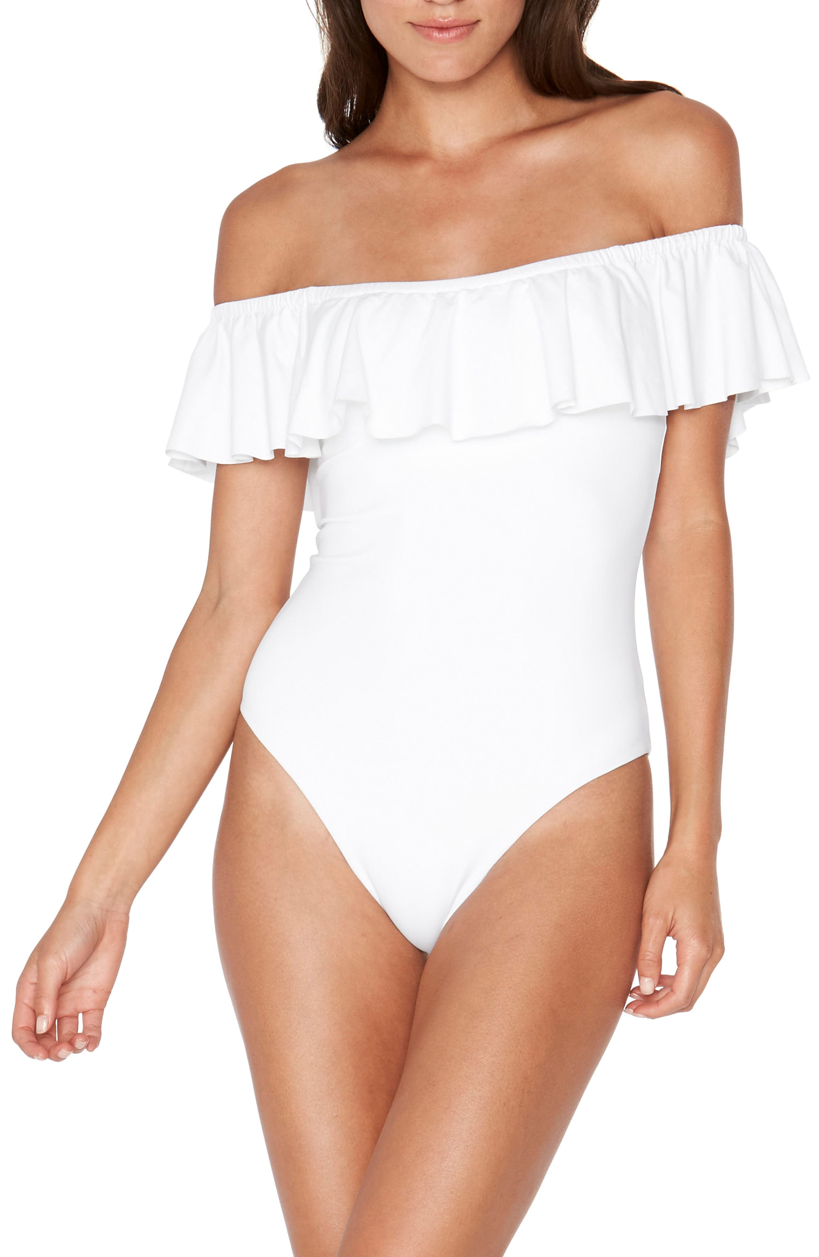 Off the Shouder One-Piece Swimsuit,                             Main thumbnail 1, color,                             White