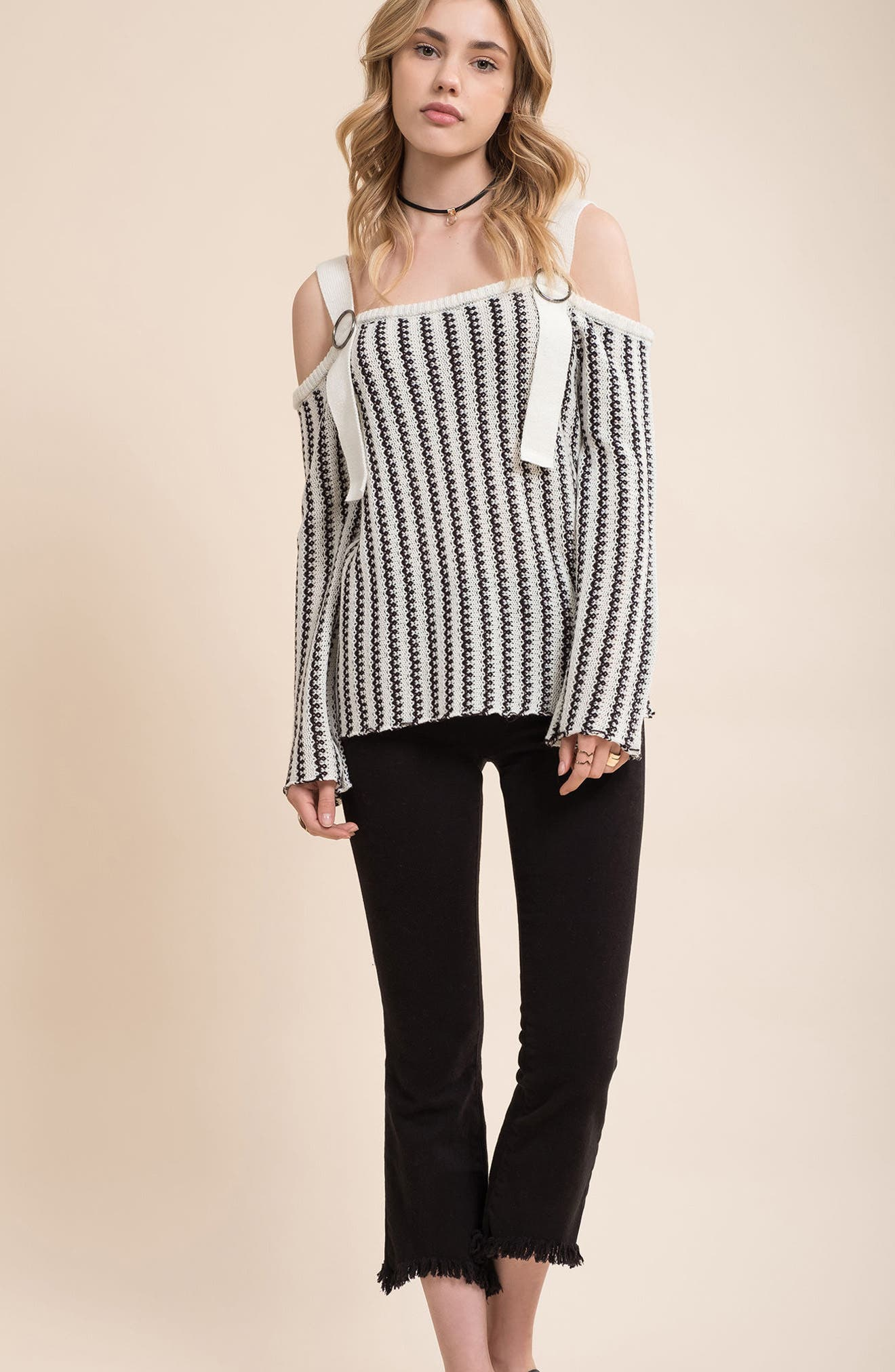 Buckle Strap Sweater,                             Alternate thumbnail 2, color,                             Ivory Black