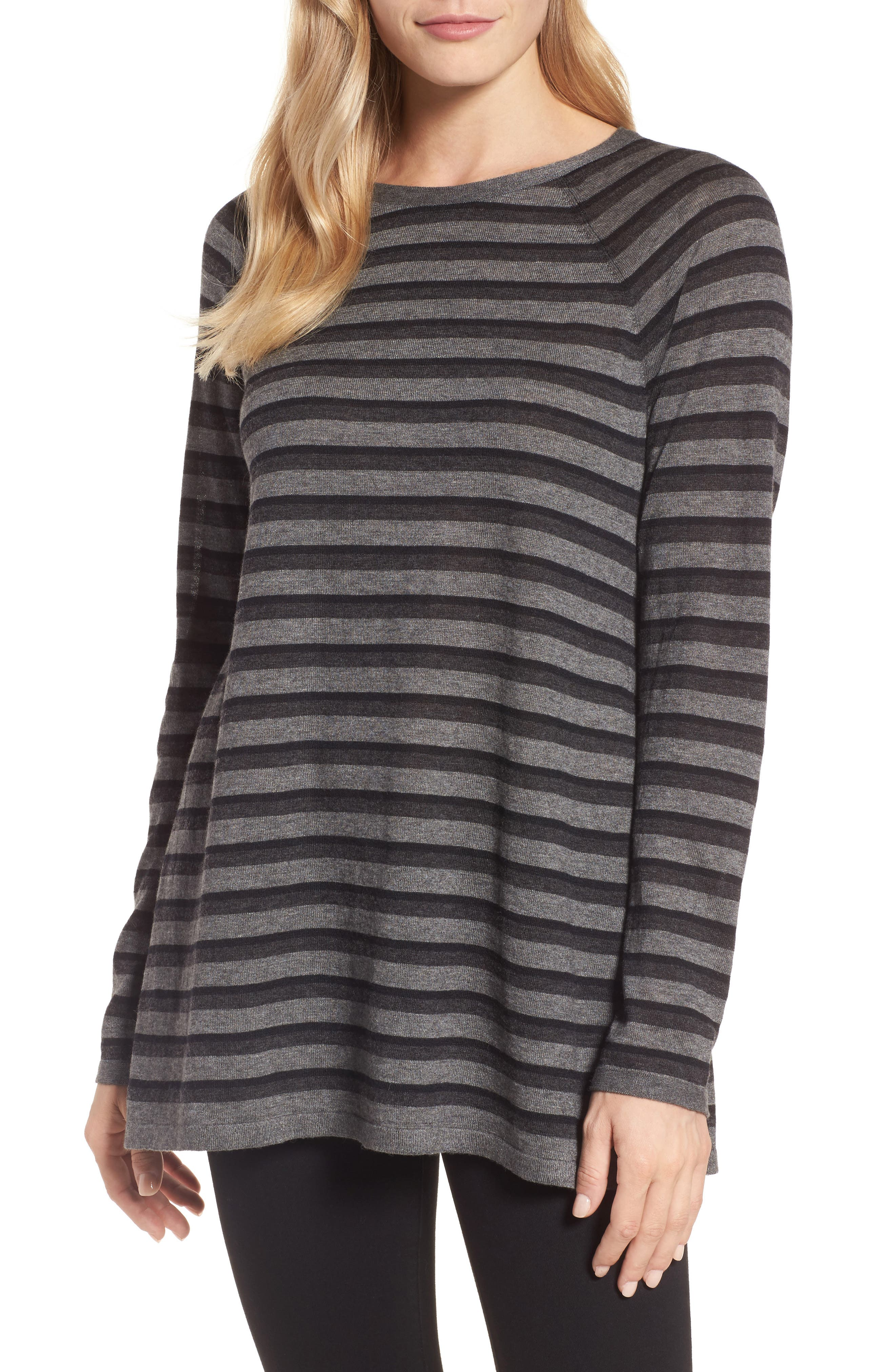 Stripe Tencel<sup>®</sup> Blend Sweater,                         Main,                         color, Charcoal