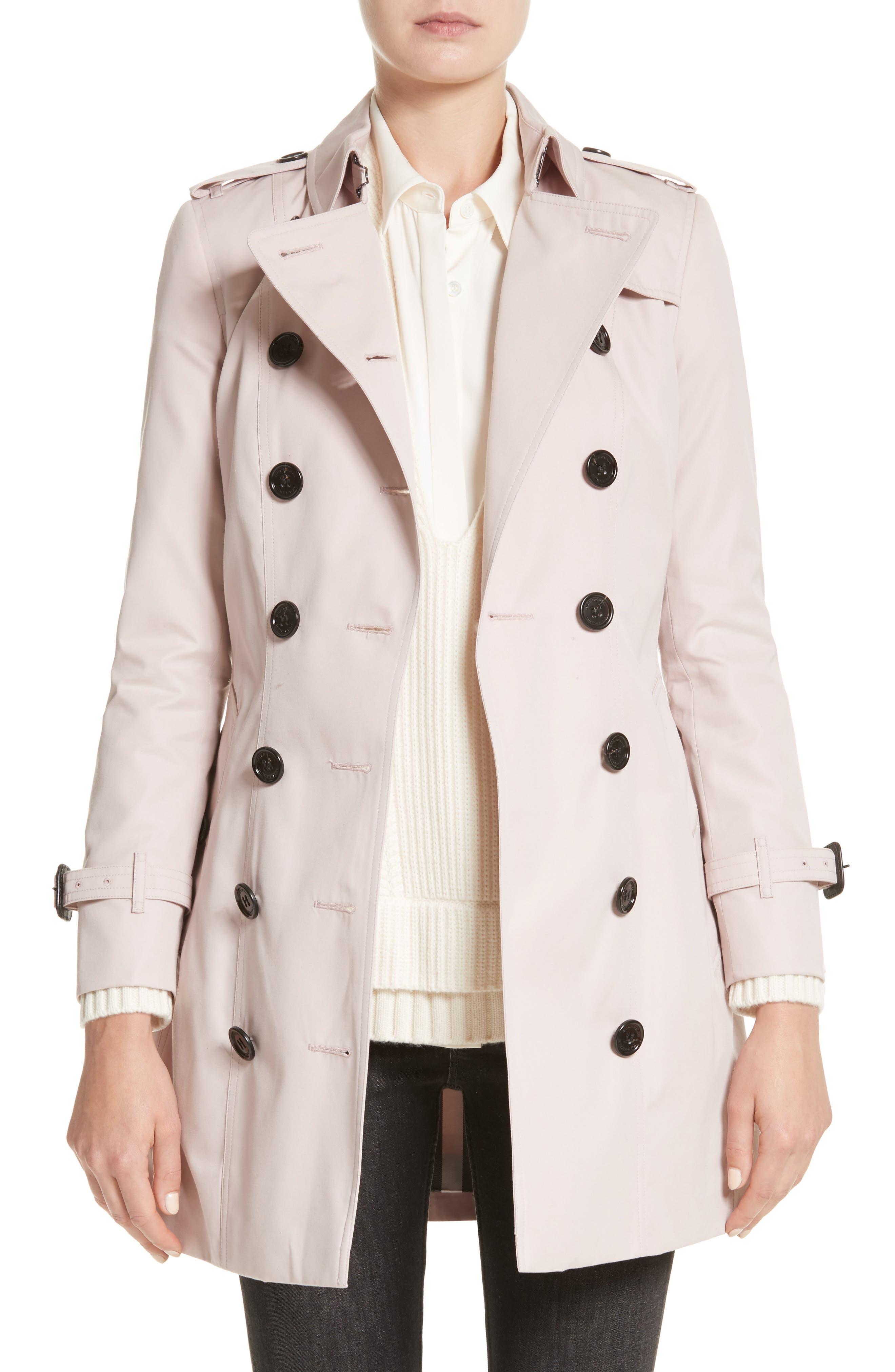 Sandringham Mid Slim Trench Coat,                         Main,                         color, Ice Pink