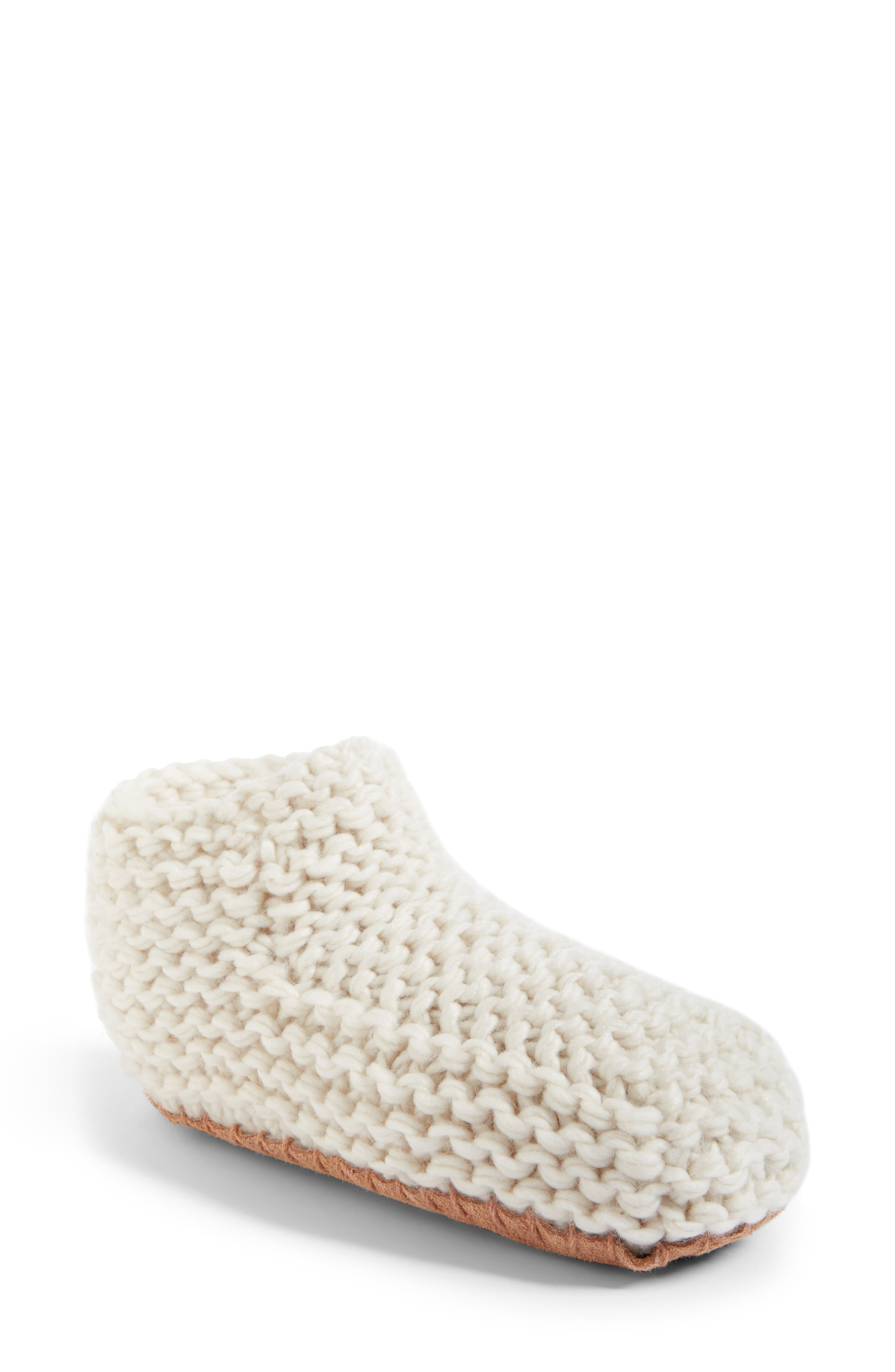 Knit Slipper Bootie,                         Main,                         color, White Sand