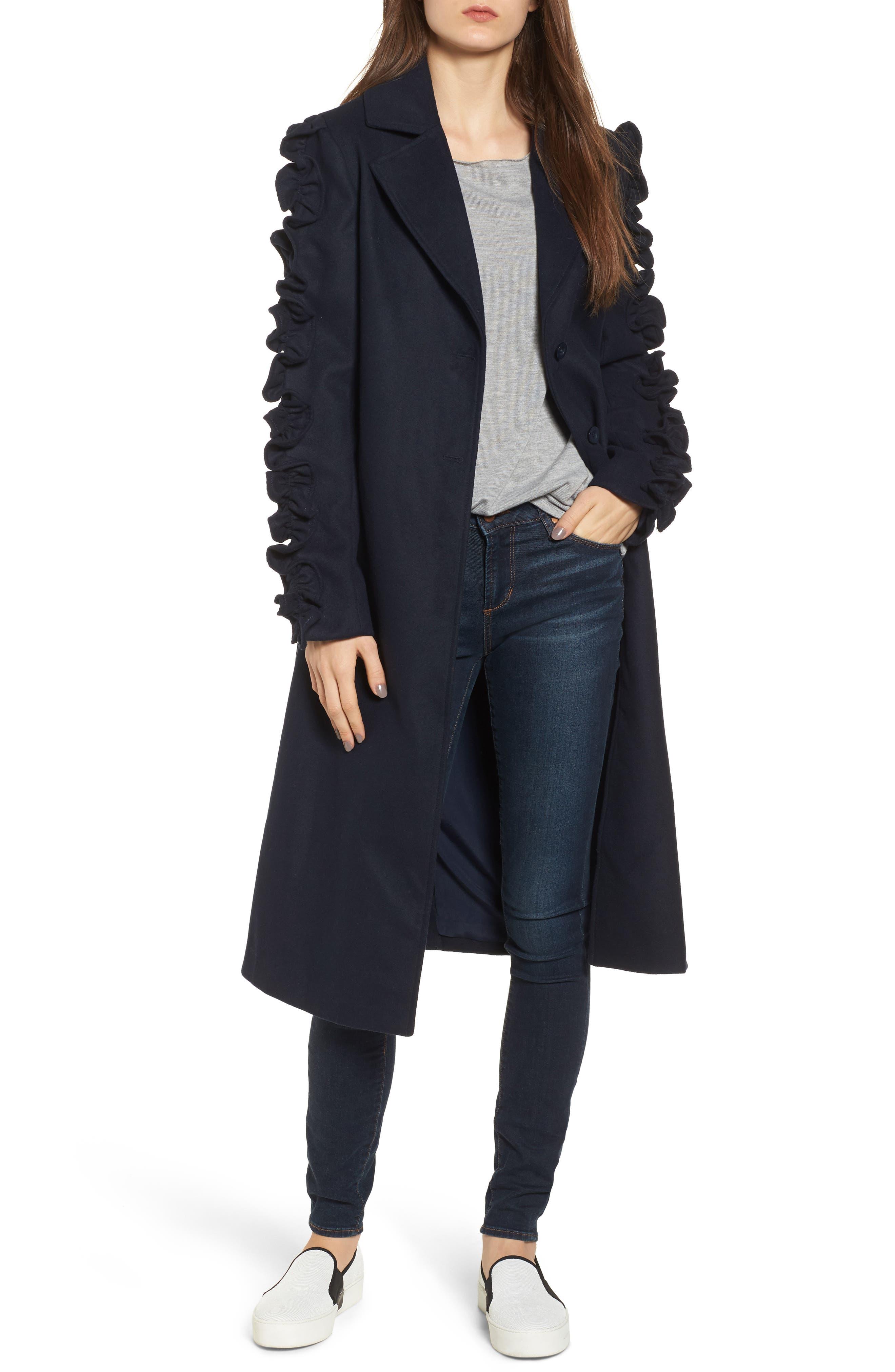 Narrative Ruffle Sleeve Coat,                         Main,                         color, Navy