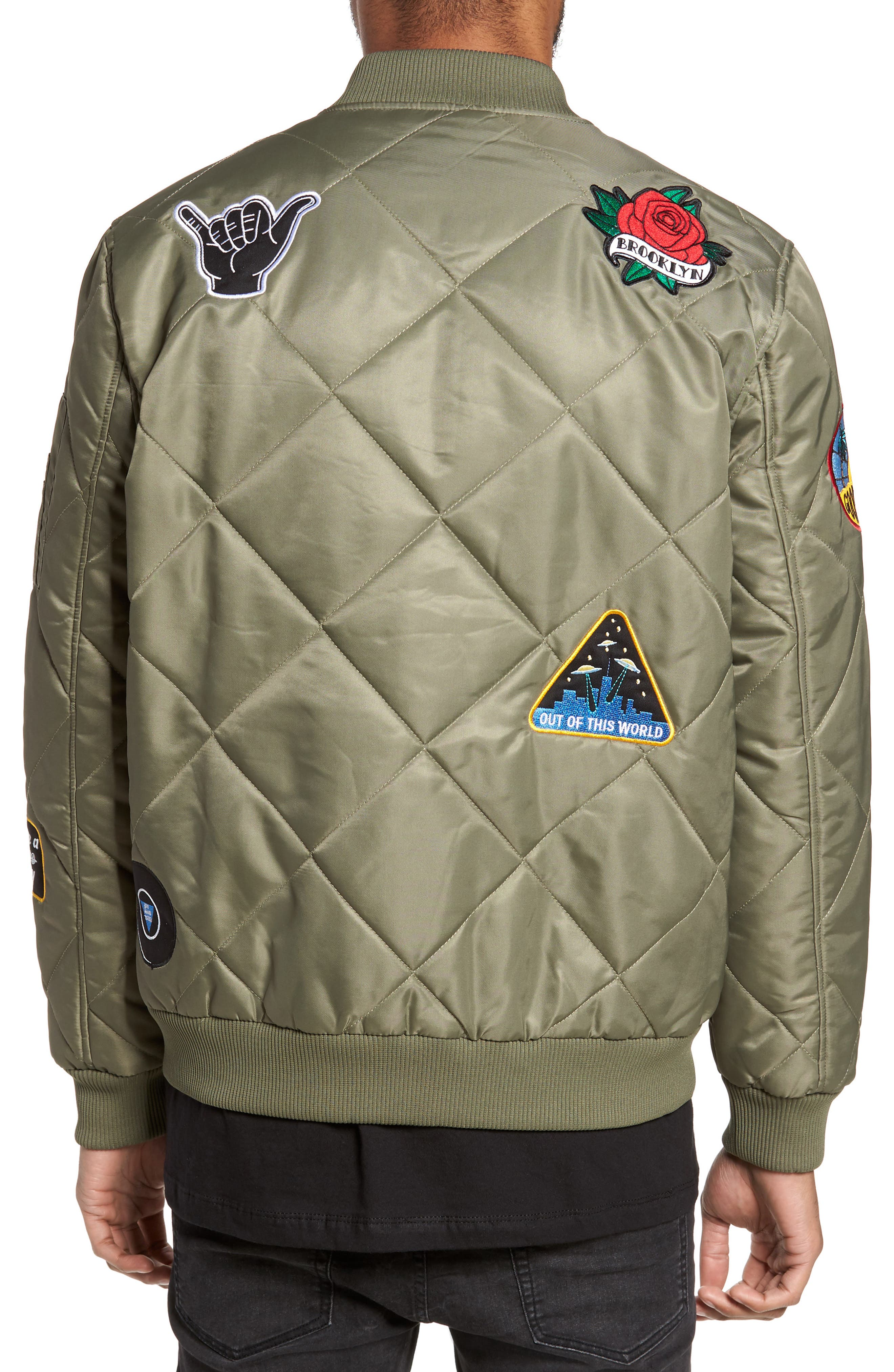 Quilted Bomber Jacket,                             Alternate thumbnail 2, color,                             Olive Marsh