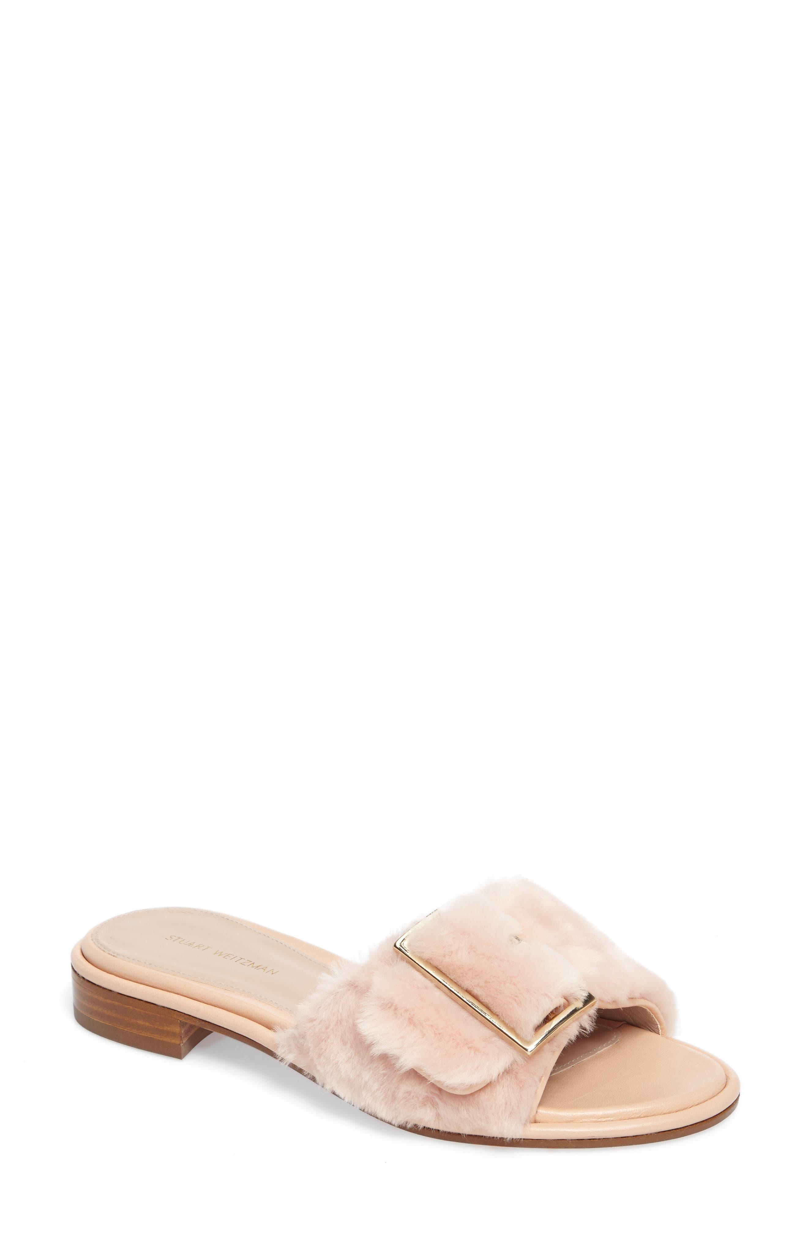 Stuart Weitzman Fuzzywuz Genuine Shearling Slide Sandal (Women)