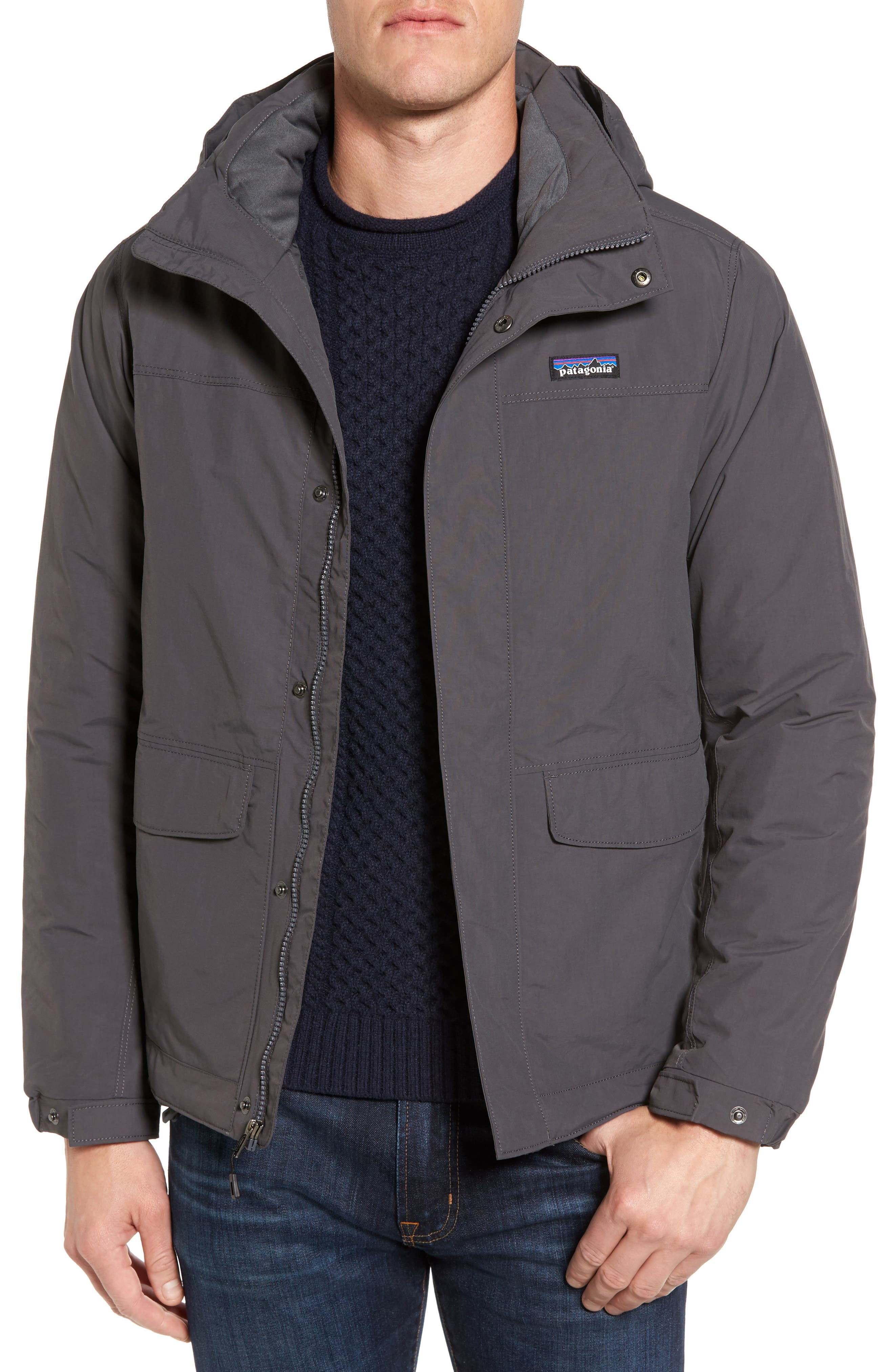 Isthmus Wind Resistant Water Repellent Hooded Parka,                         Main,                         color, Forge Grey