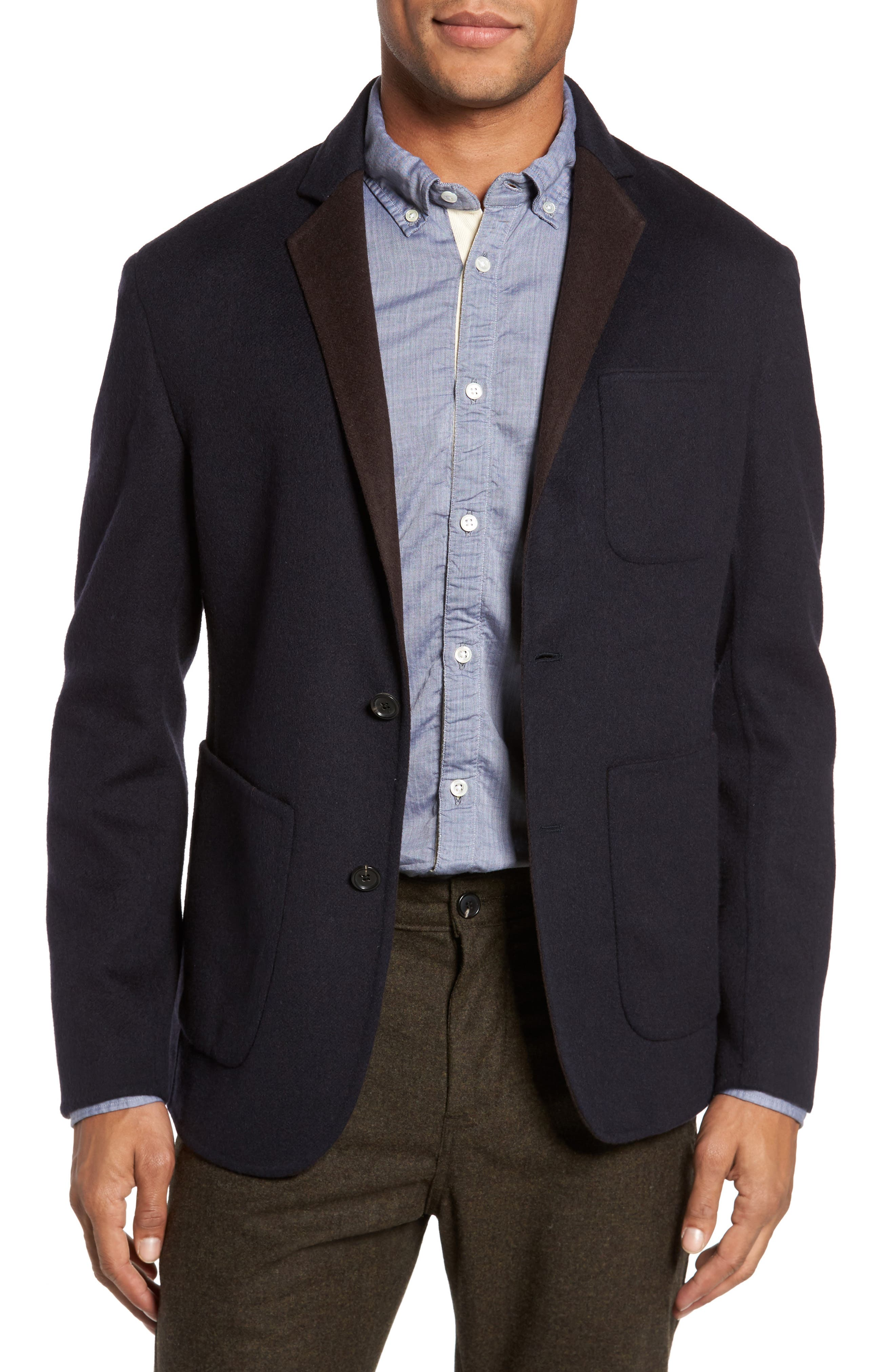 Archie Double-Face Wool Sport Coat,                         Main,                         color, Navy