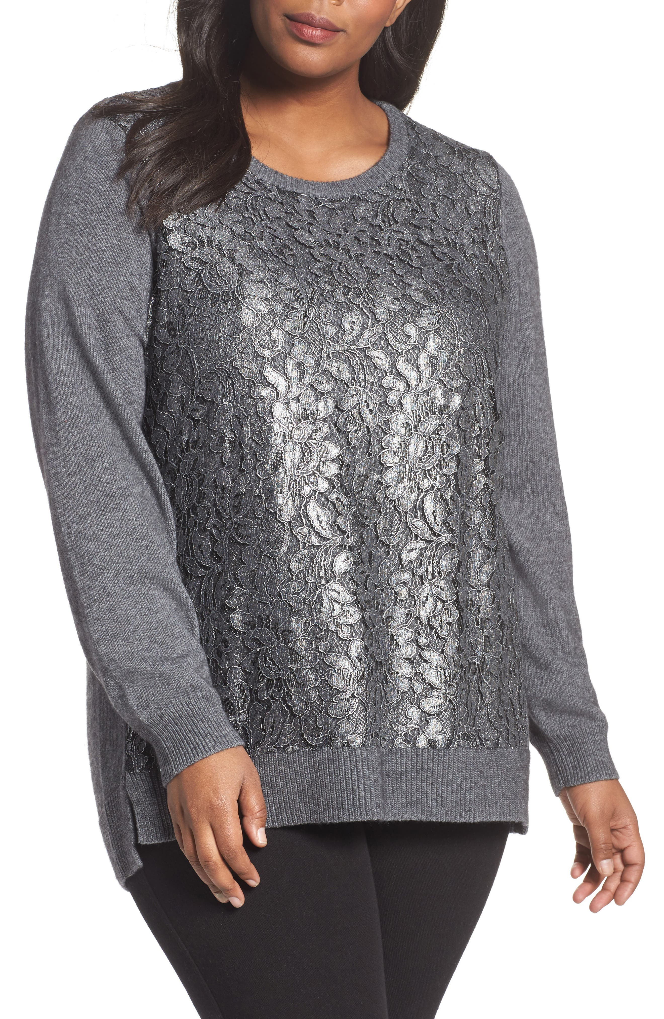 Pixie Metallic Lace Panel Sweater,                             Main thumbnail 1, color,                             Slate