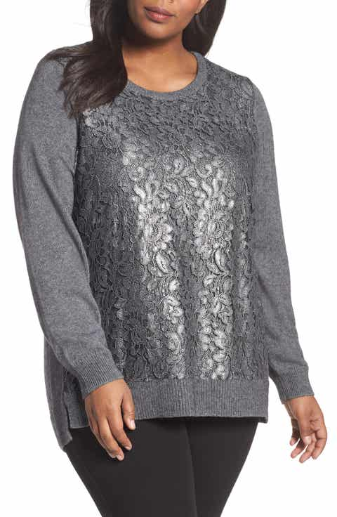 Foxcroft Pixie Metallic Lace Panel Sweater (Plus Size)