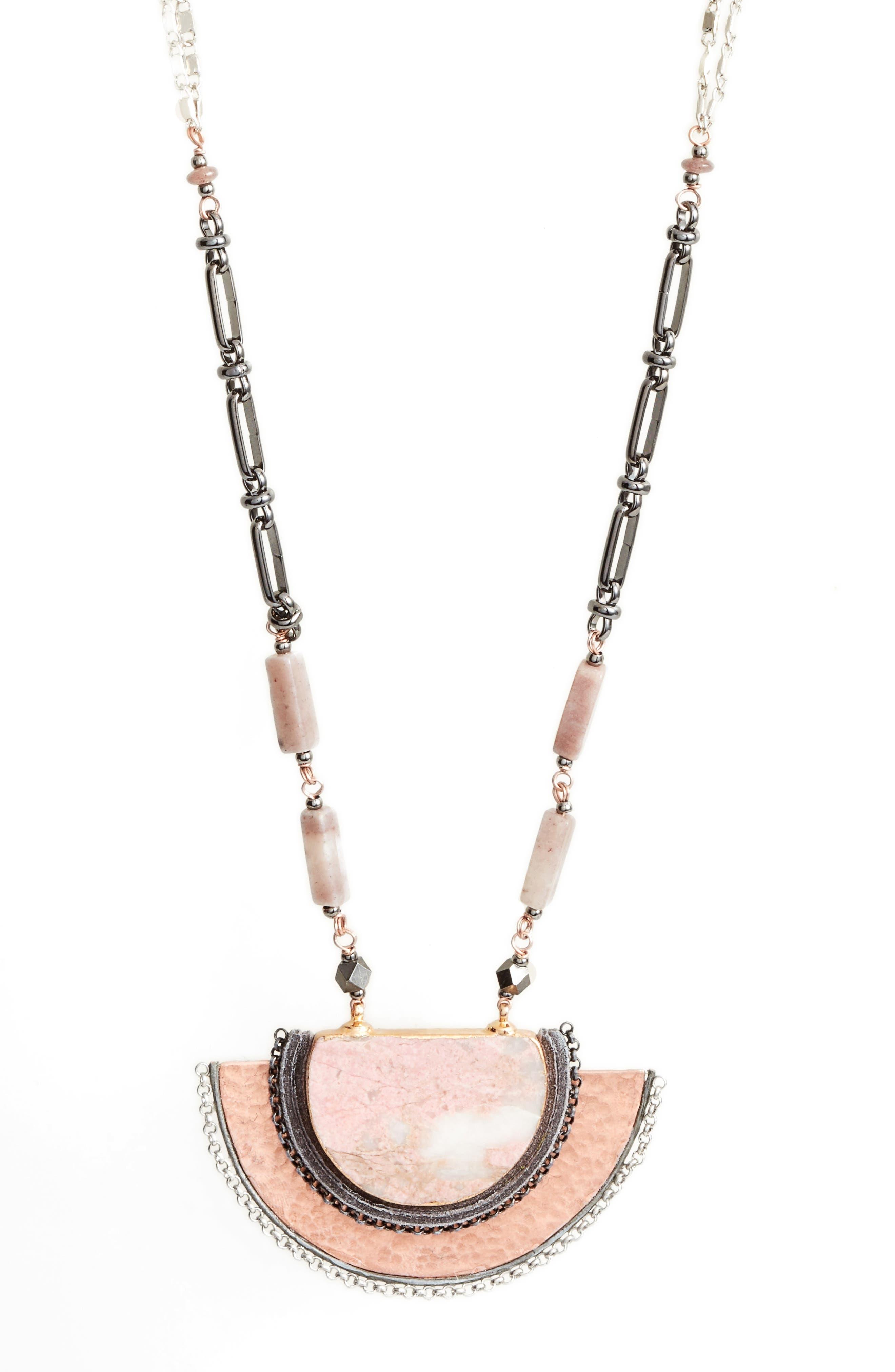 Alternate Image 2  - Nakamol Design Half Moon Stone Pendant Necklace