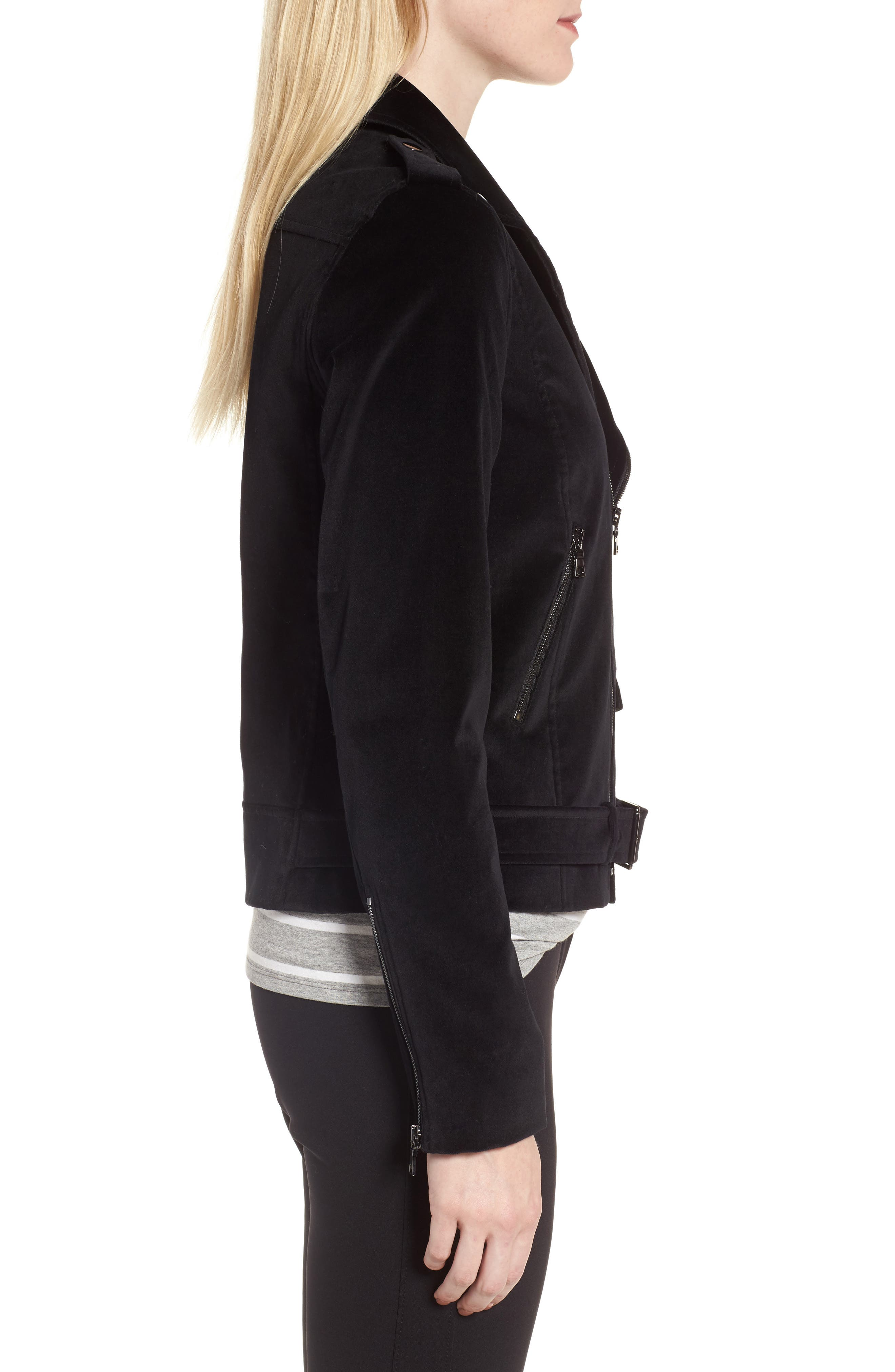 Velvet Moto Jacket,                             Alternate thumbnail 4, color,                             Black
