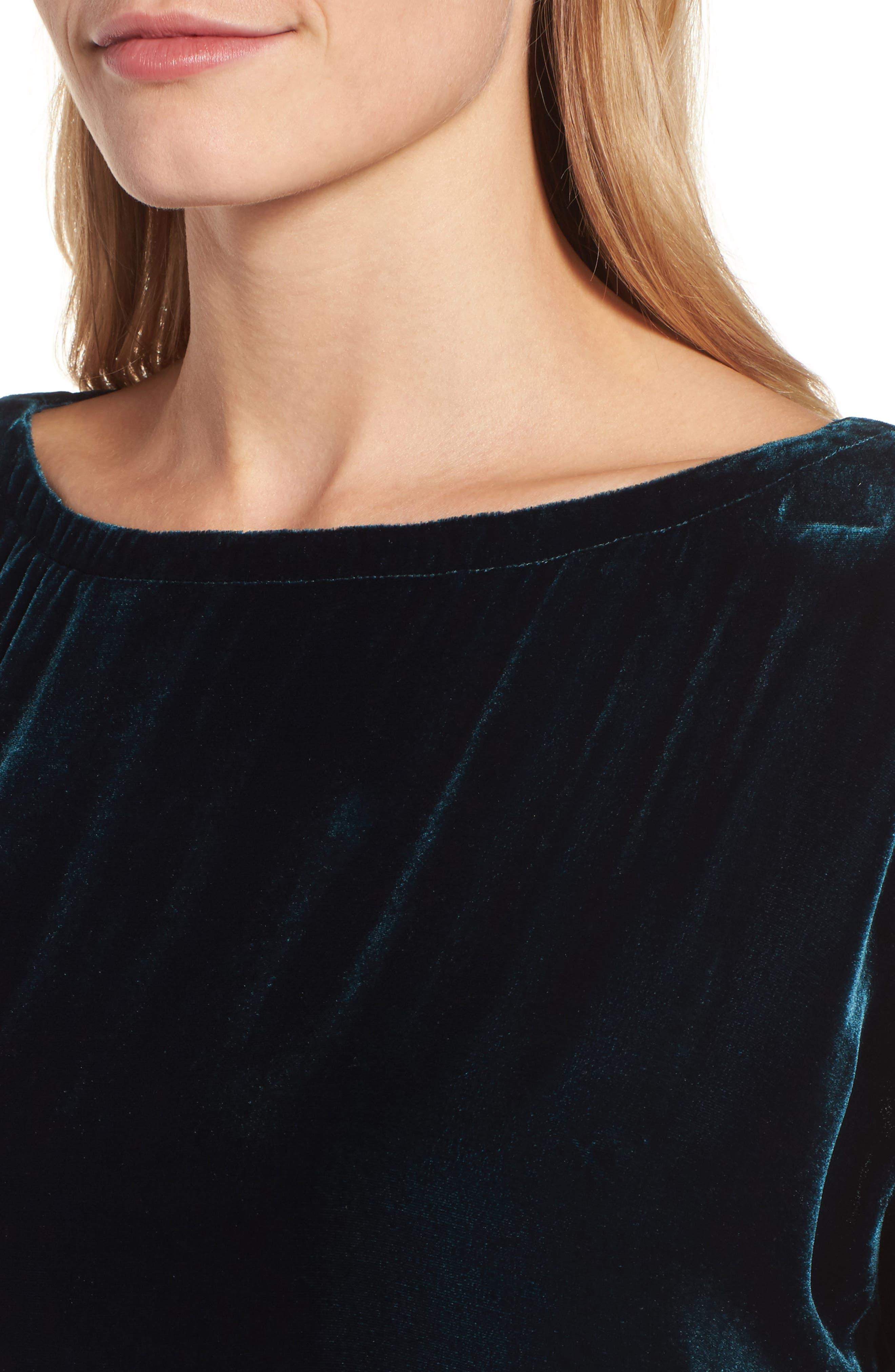 Velvet Shift Dress,                             Alternate thumbnail 4, color,                             Blue Spruce