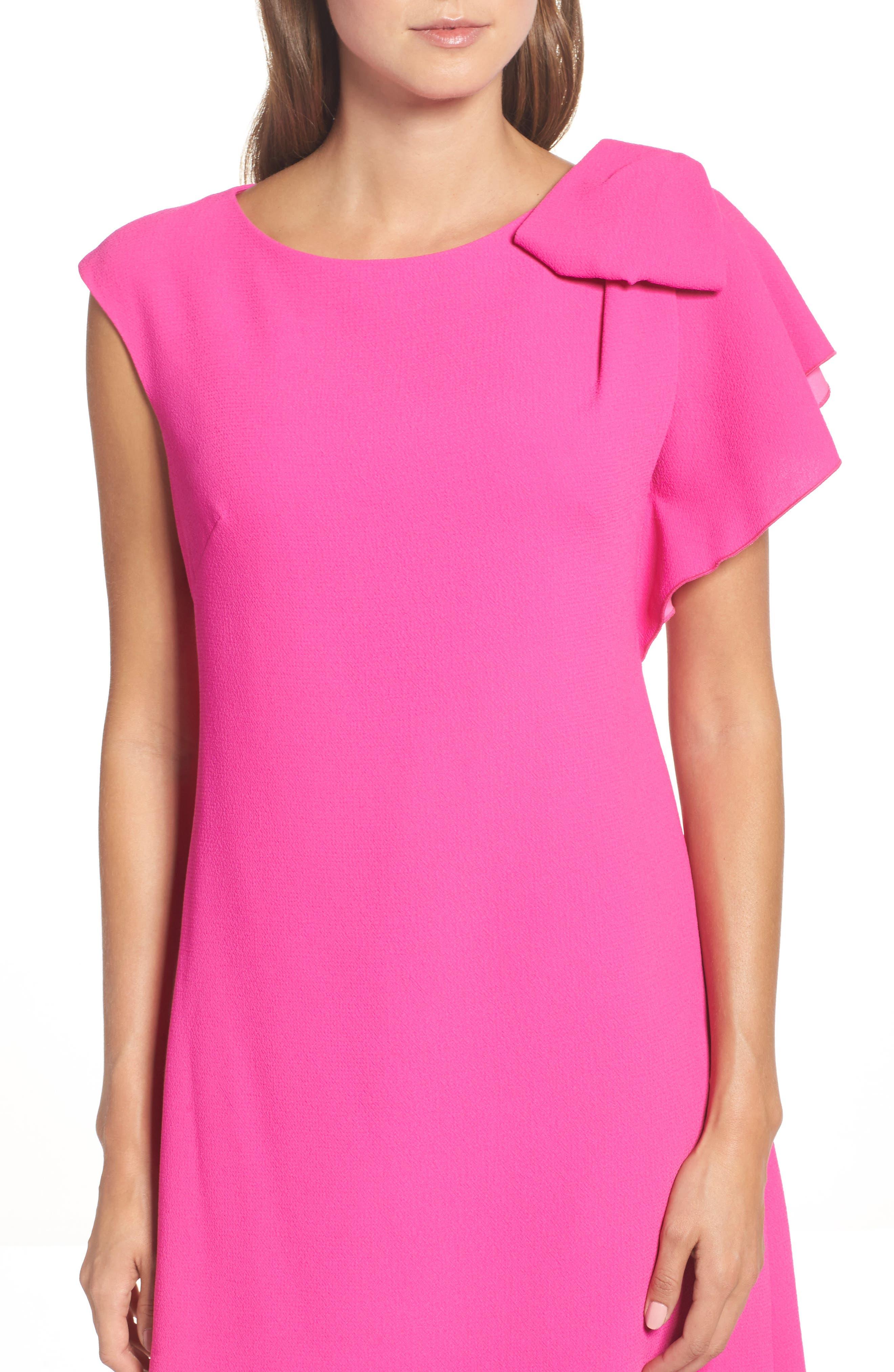 Ruffle Sleeve Shift Dress,                             Alternate thumbnail 5, color,                             Pink