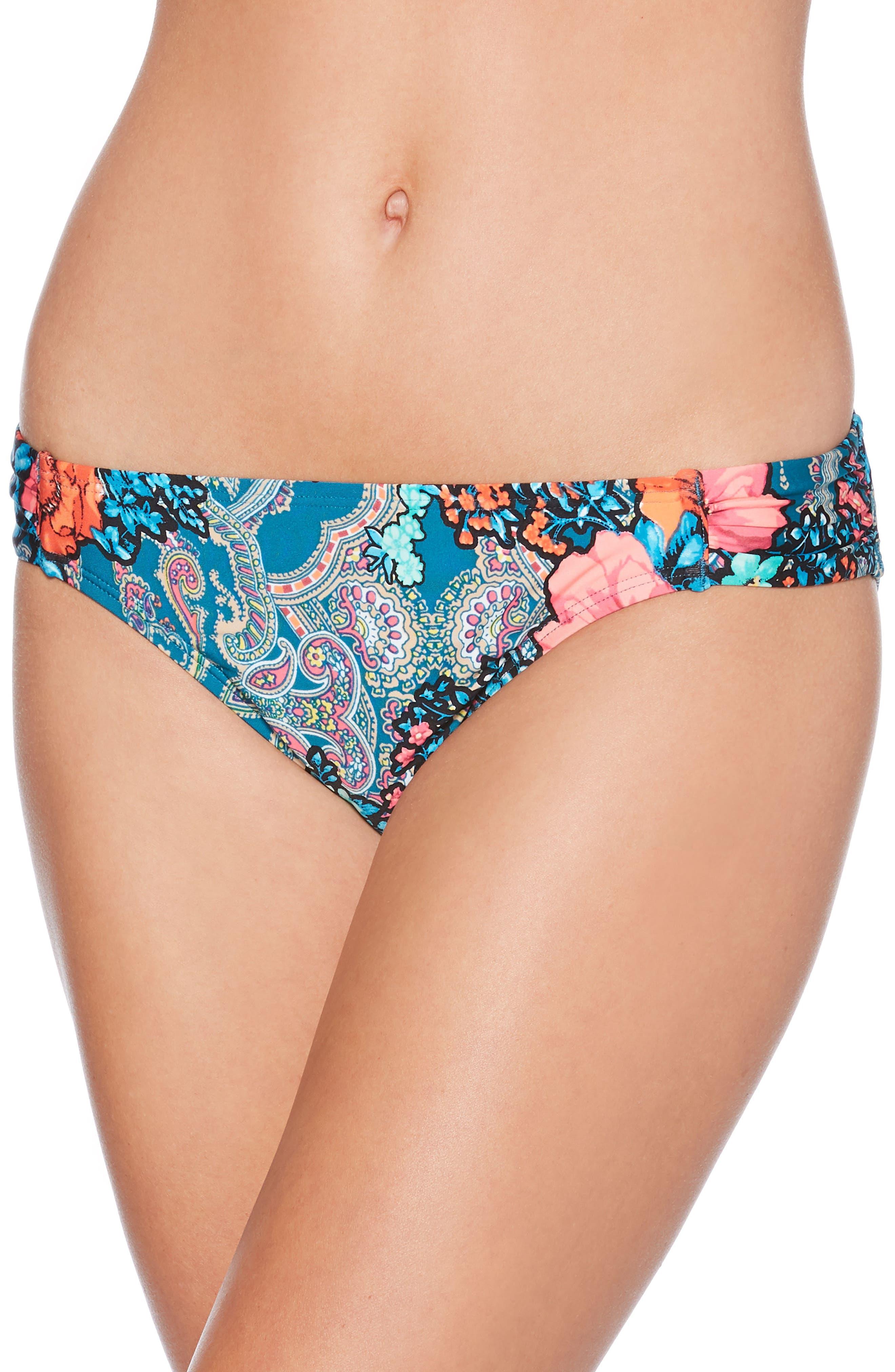 Floral Paisley Hipster Bikini Bottoms,                             Main thumbnail 1, color,                             Deep Teal
