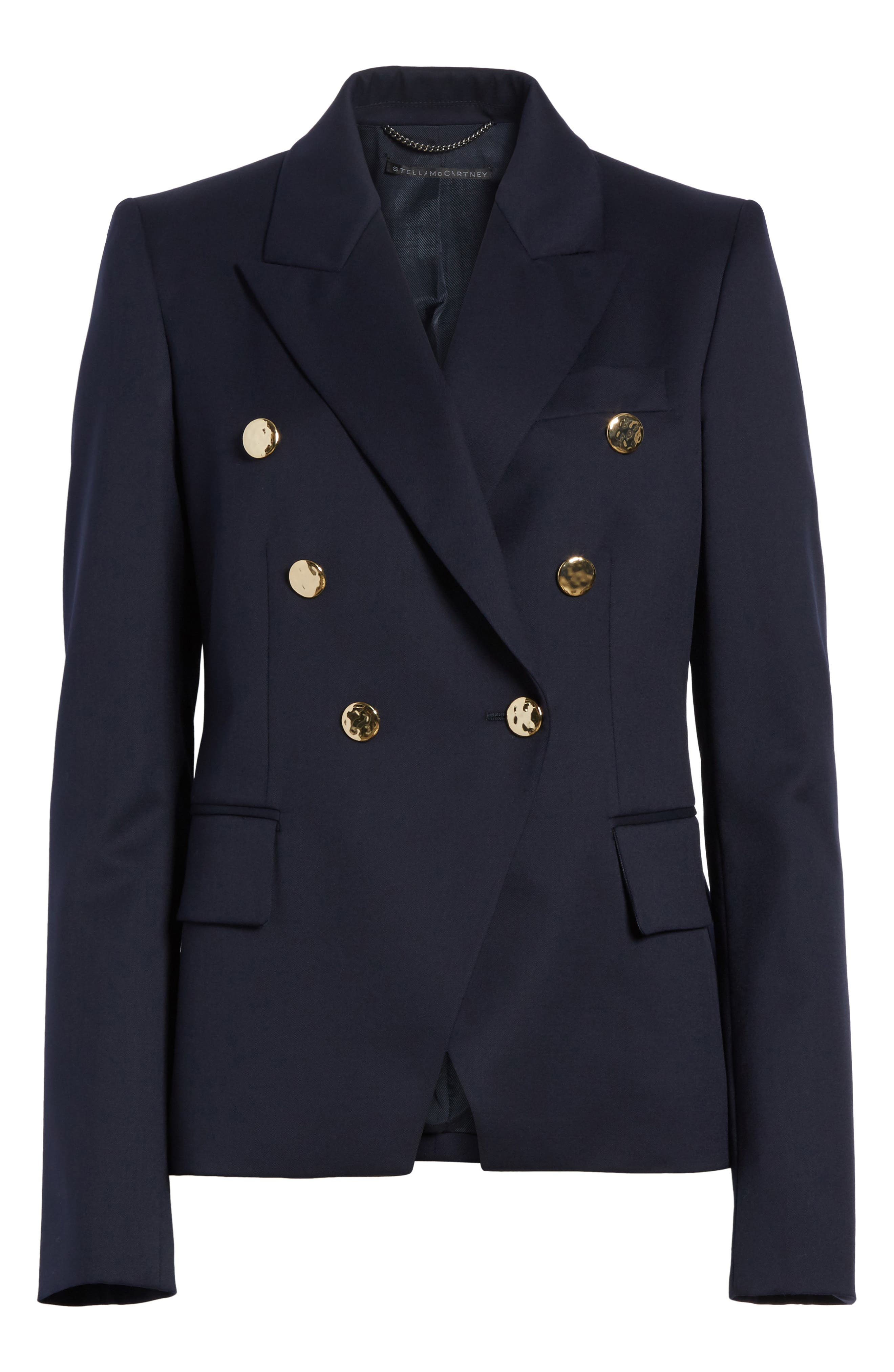 Double Breasted Wool Blazer,                             Alternate thumbnail 6, color,                             Navy