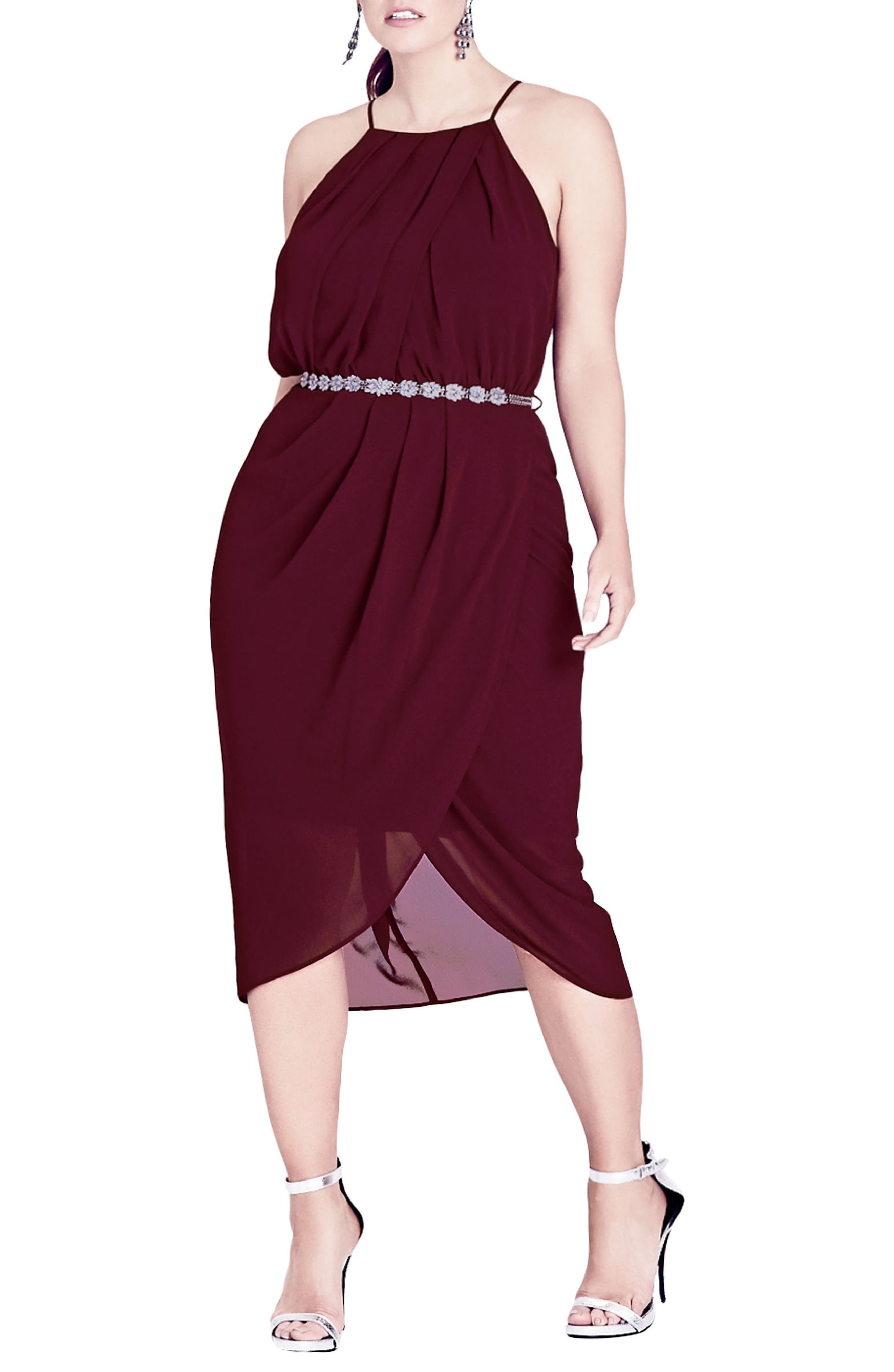 Wrap Love Belted Dress,                             Main thumbnail 1, color,                             Garnet