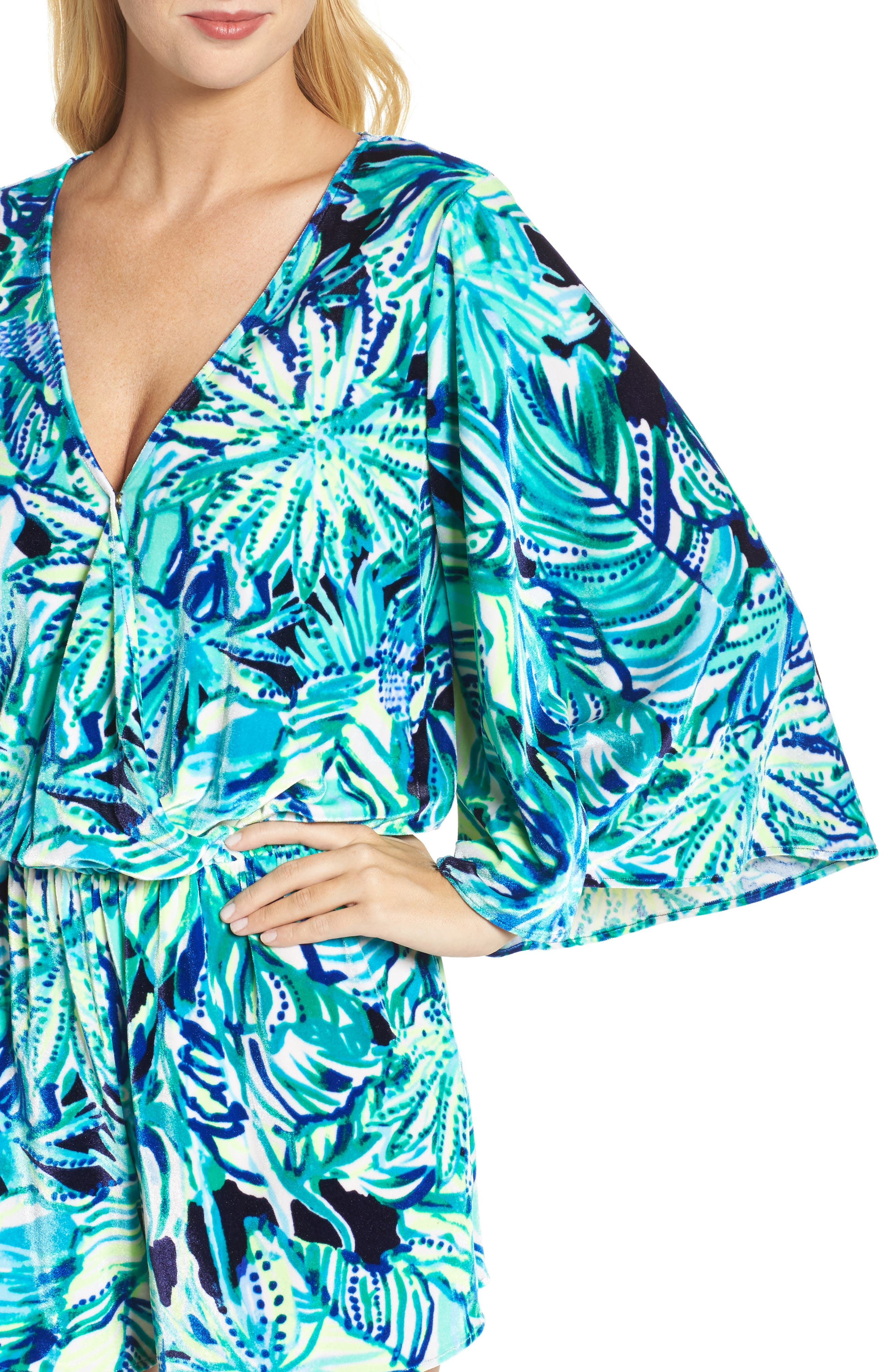 Lily Pulitzer<sup>®</sup> Viviana Romper,                             Alternate thumbnail 4, color,                             Bright Navy Dally