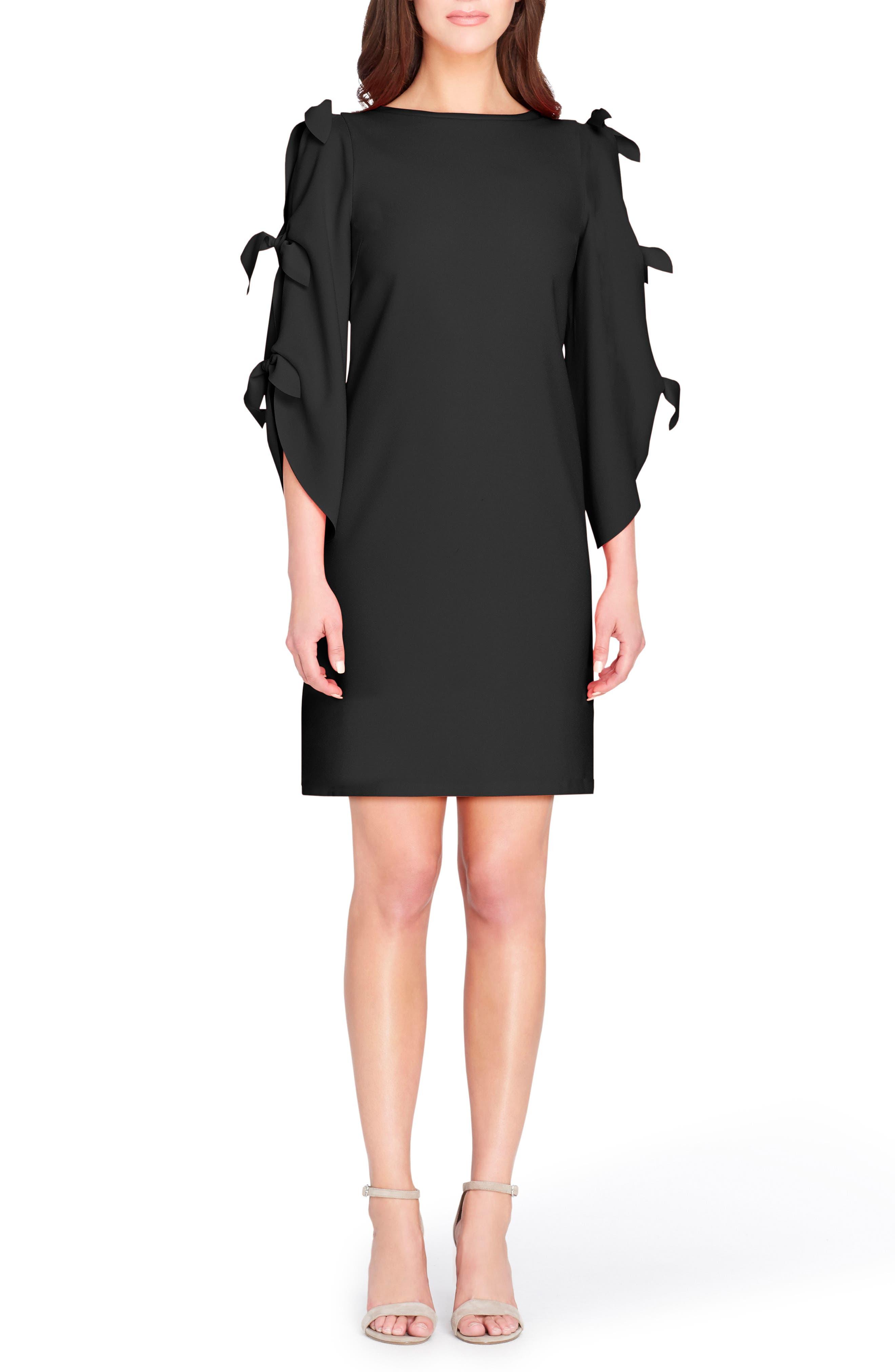 Split Tie Sleeve Shift Dress,                             Main thumbnail 1, color,                             Black