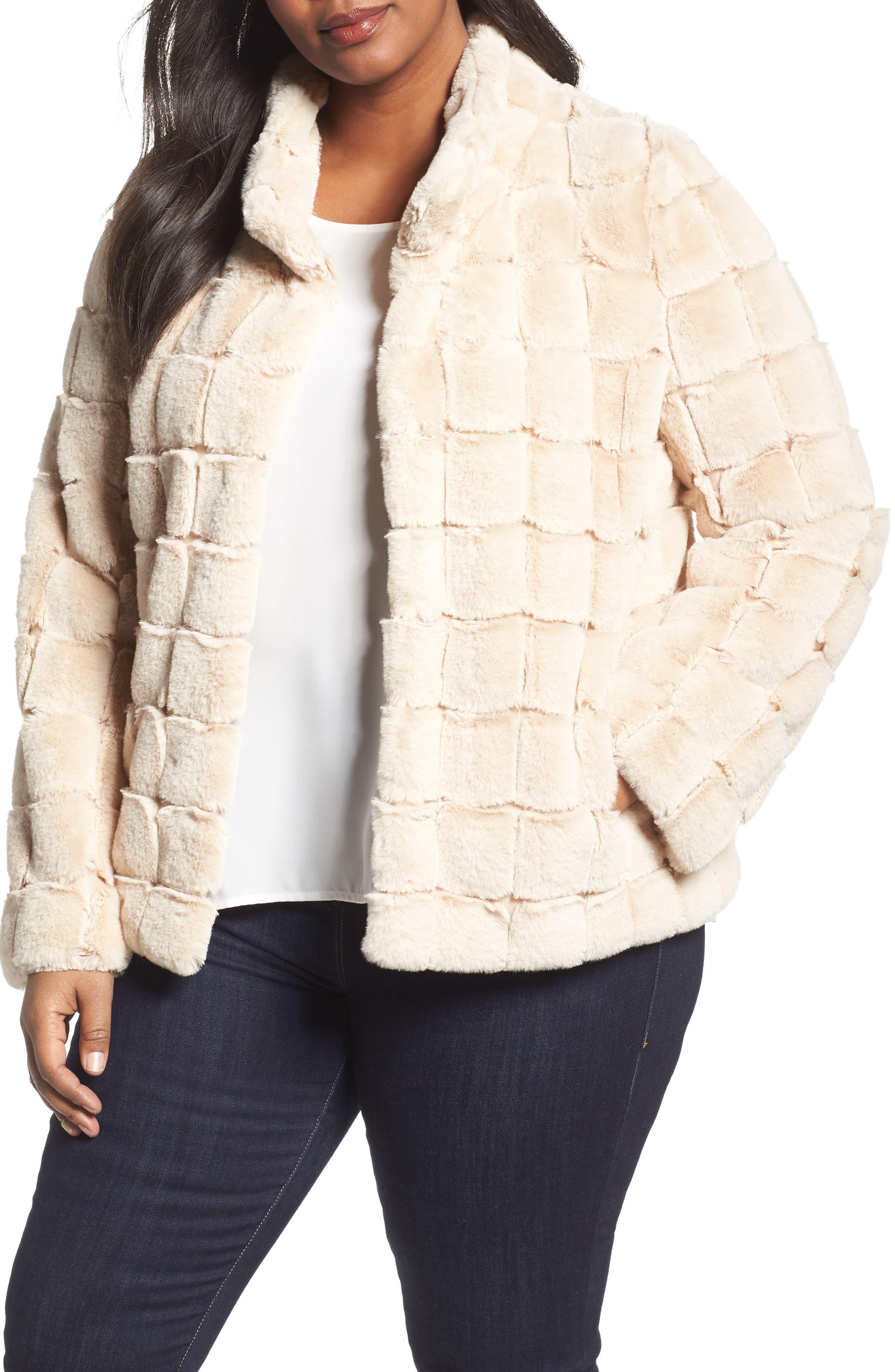 Faux Fur Jacket,                             Main thumbnail 1, color,                             Blush