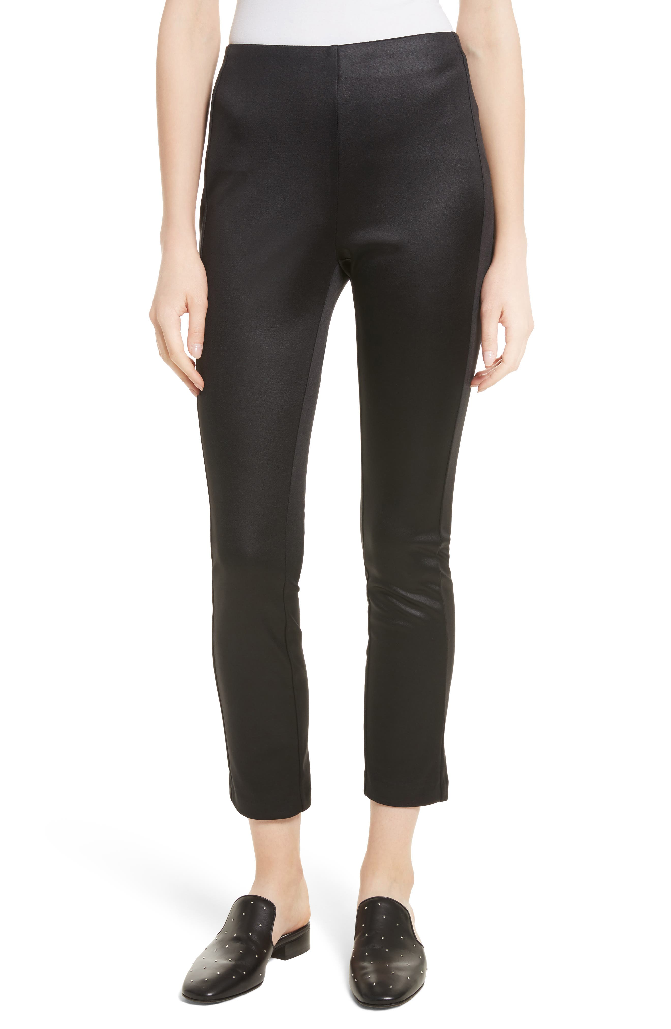 Simone Sateen Pants,                         Main,                         color, Black