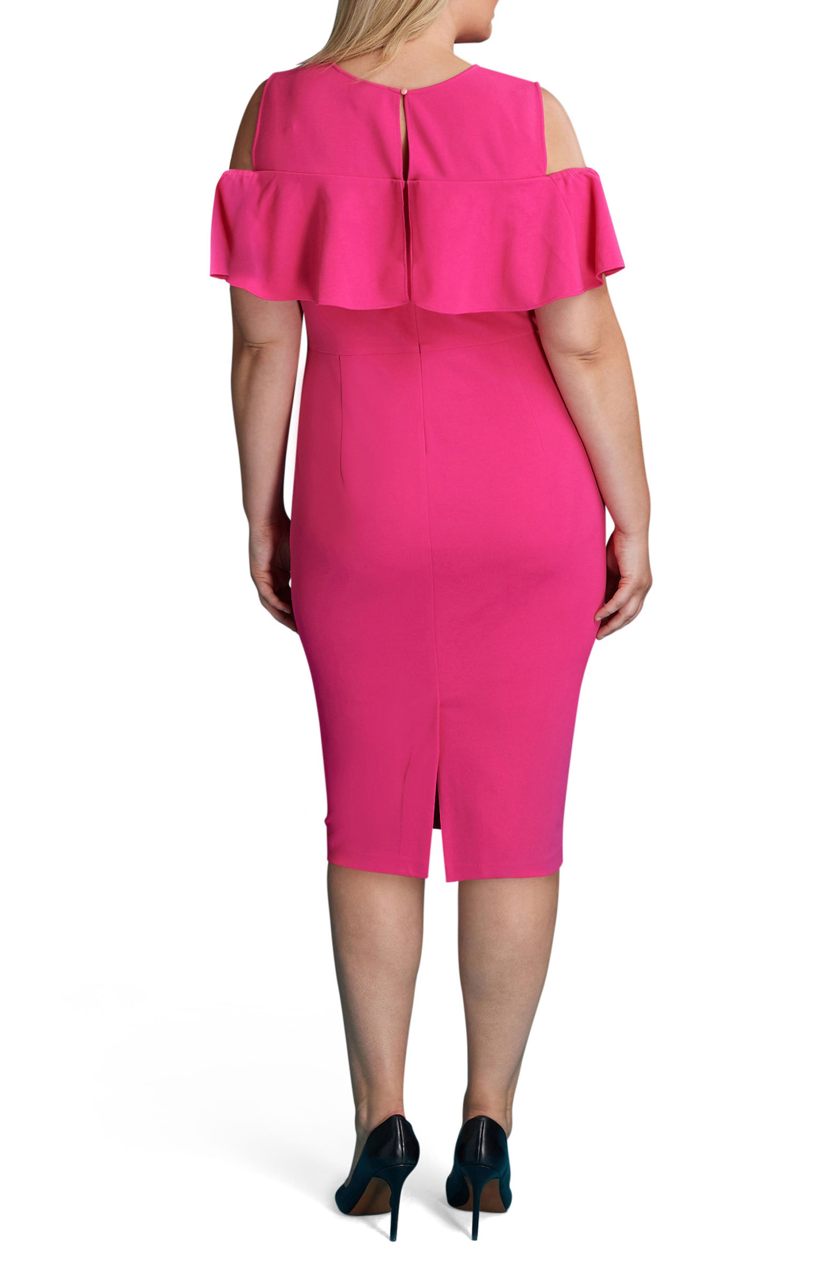 Alternate Image 2  - ECI Cold Shoulder Ruffle Sheath Dress (Plus Size)