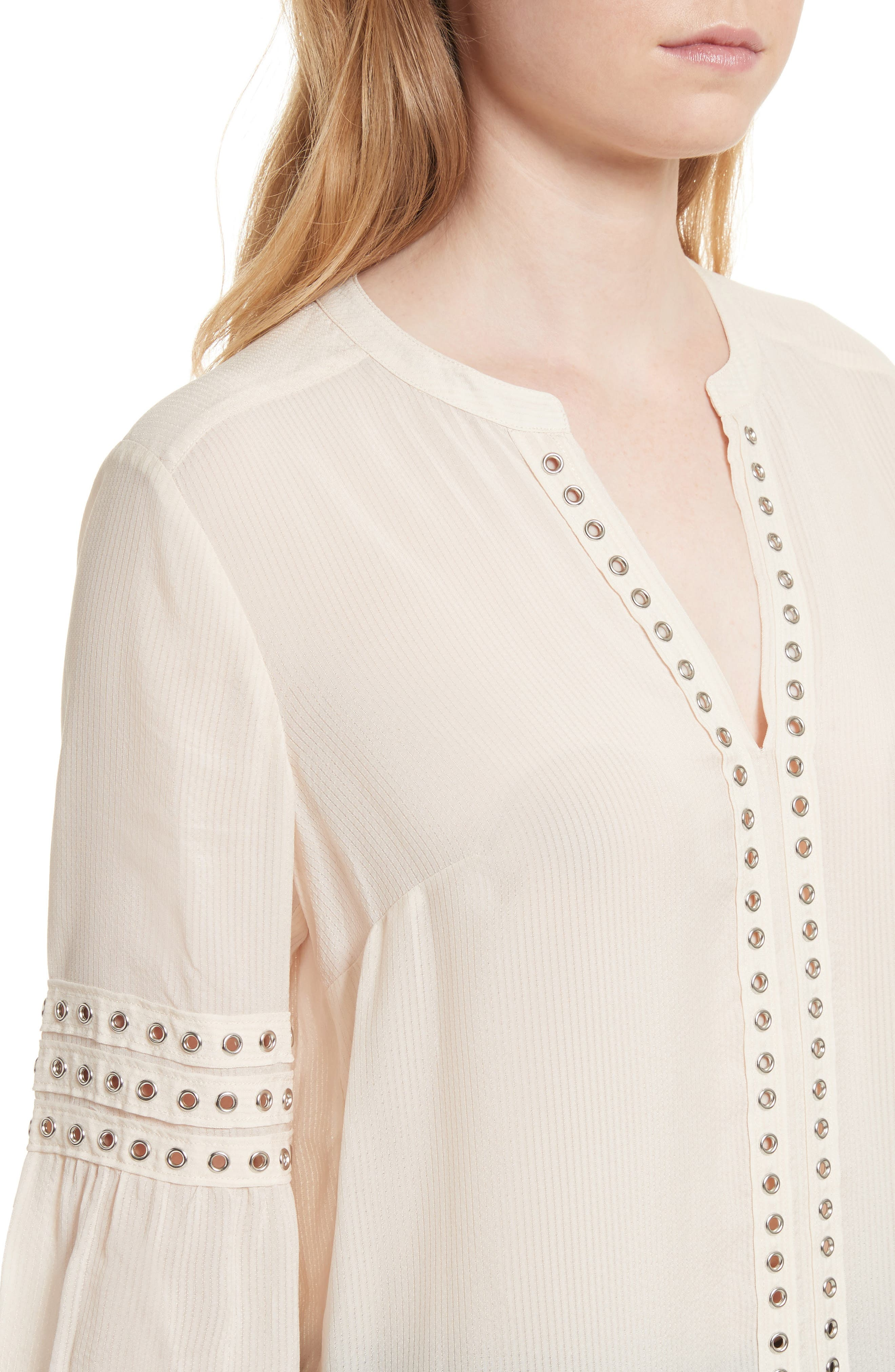 Willa Eyelet Trim Blouse,                             Alternate thumbnail 4, color,                             White