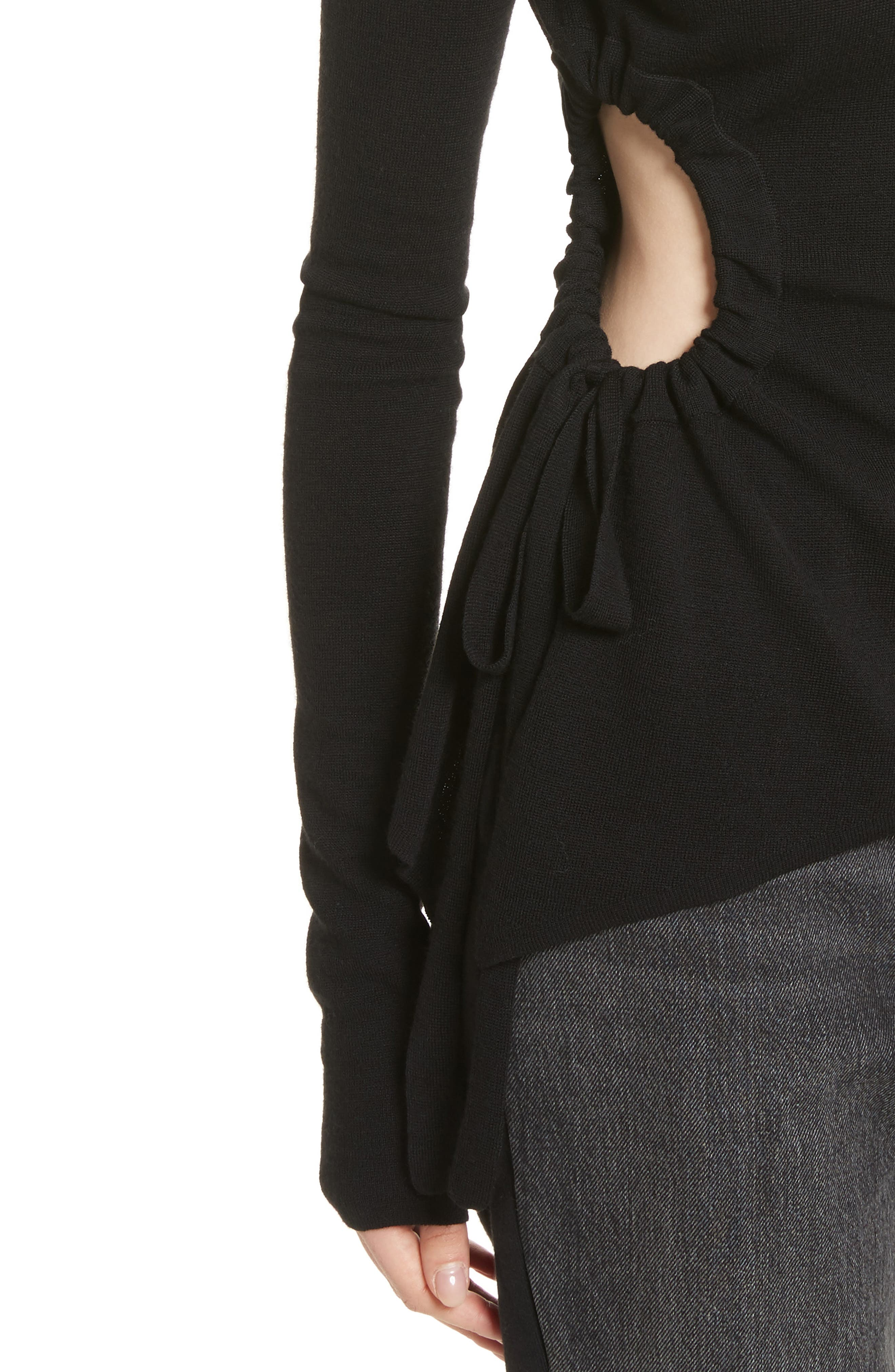 T by Alexander Side Cutout Ruched Merino Wool Sweater,                             Alternate thumbnail 4, color,                             Black