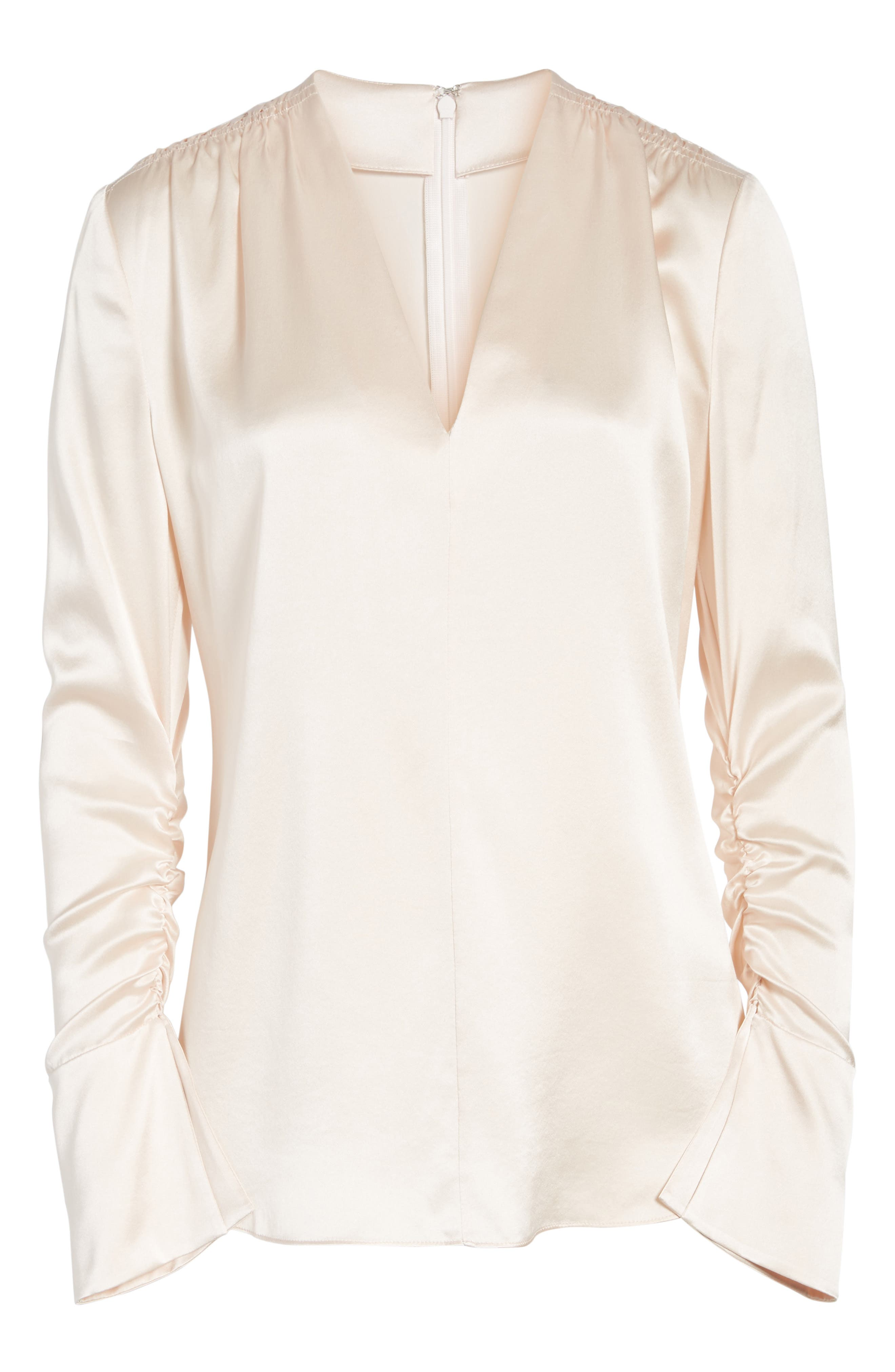 Satin V-Neck Ruched Silk Blouse,                             Alternate thumbnail 6, color,                             Pink Wisp