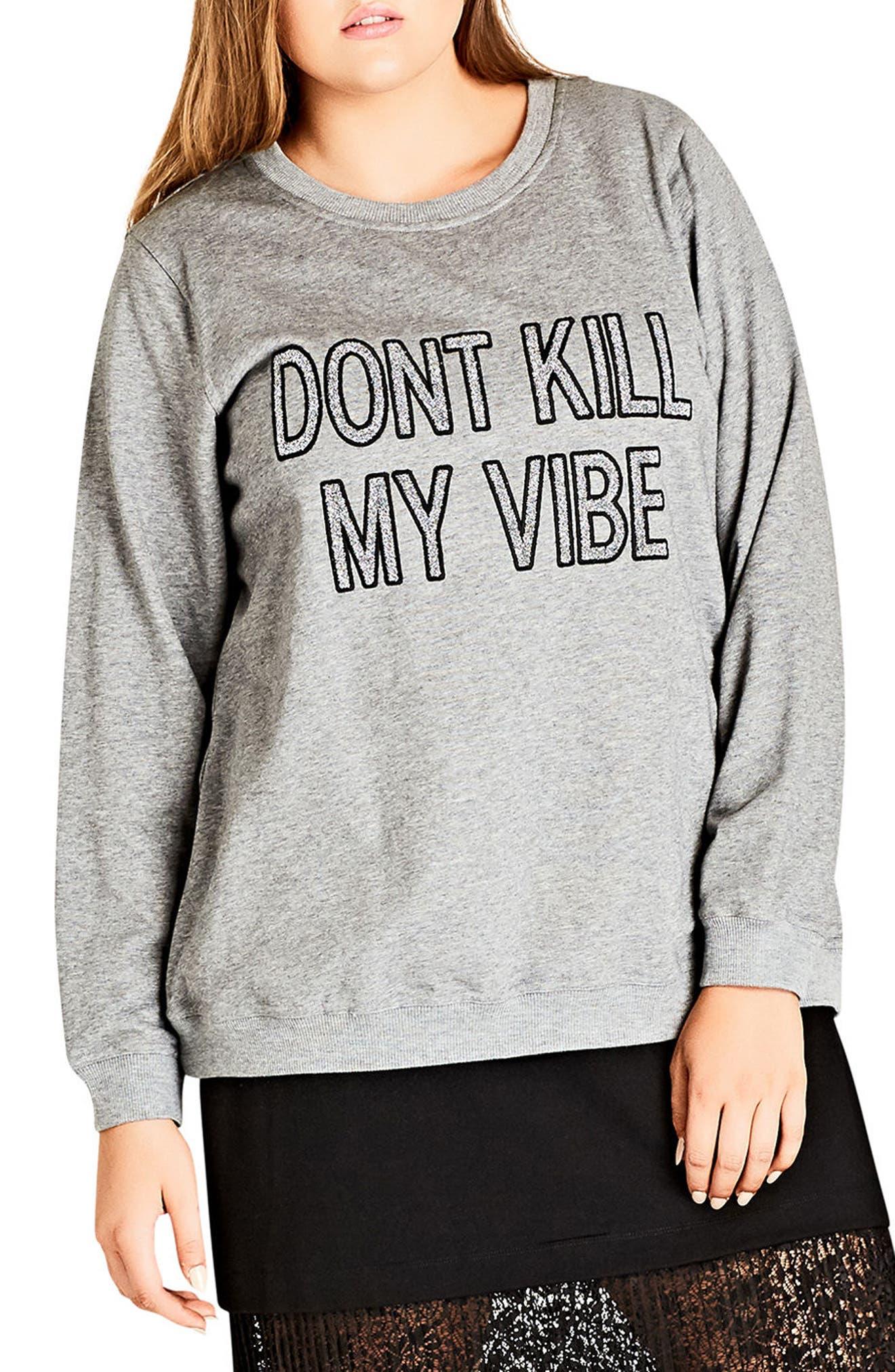 Vibes Glitter Graphic Sweatshirt,                             Main thumbnail 1, color,                             Grey Marle