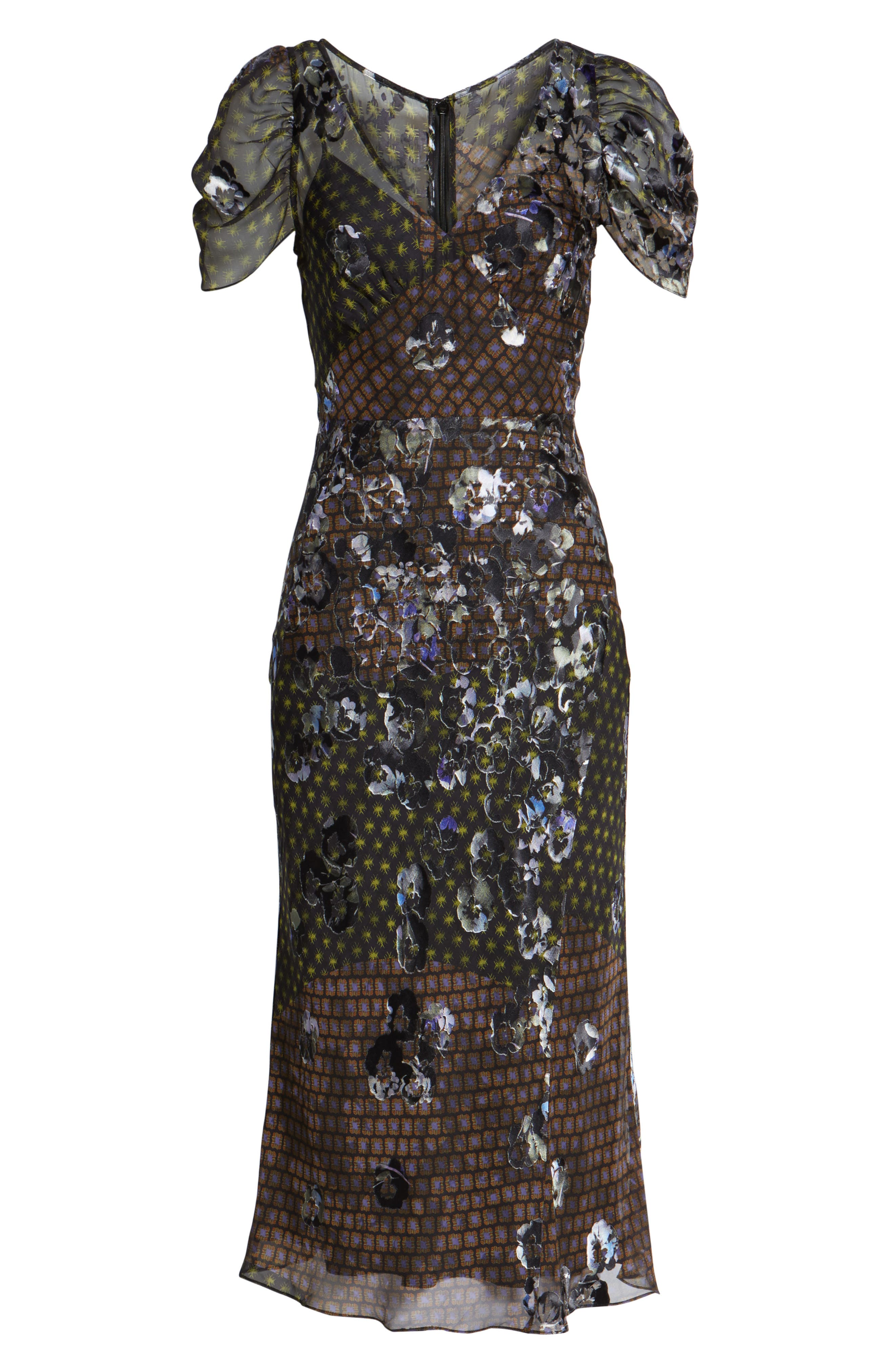 Alternate Image 6  - Lewit Puff Sleeve Devore Jacquard Midi Dress
