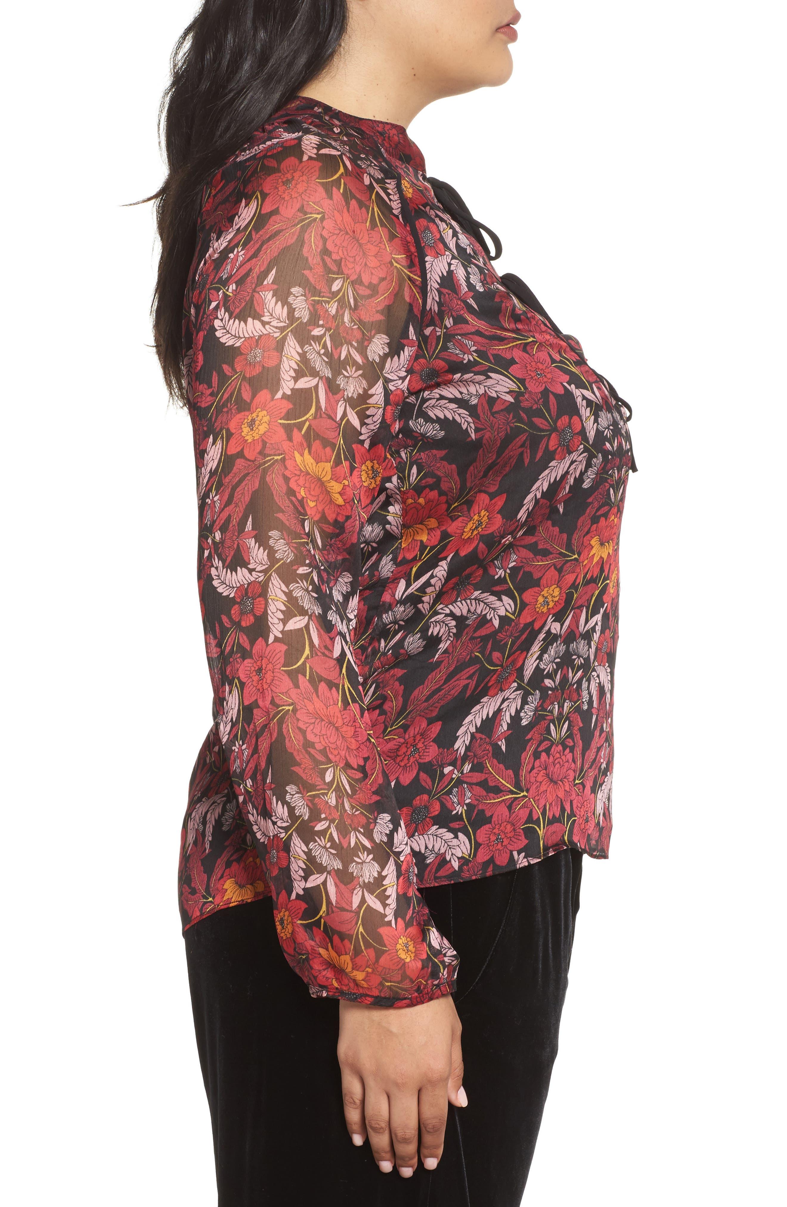 Alternate Image 3  - Glamorous Floral Tie-Neck Blouse (Plus Size)