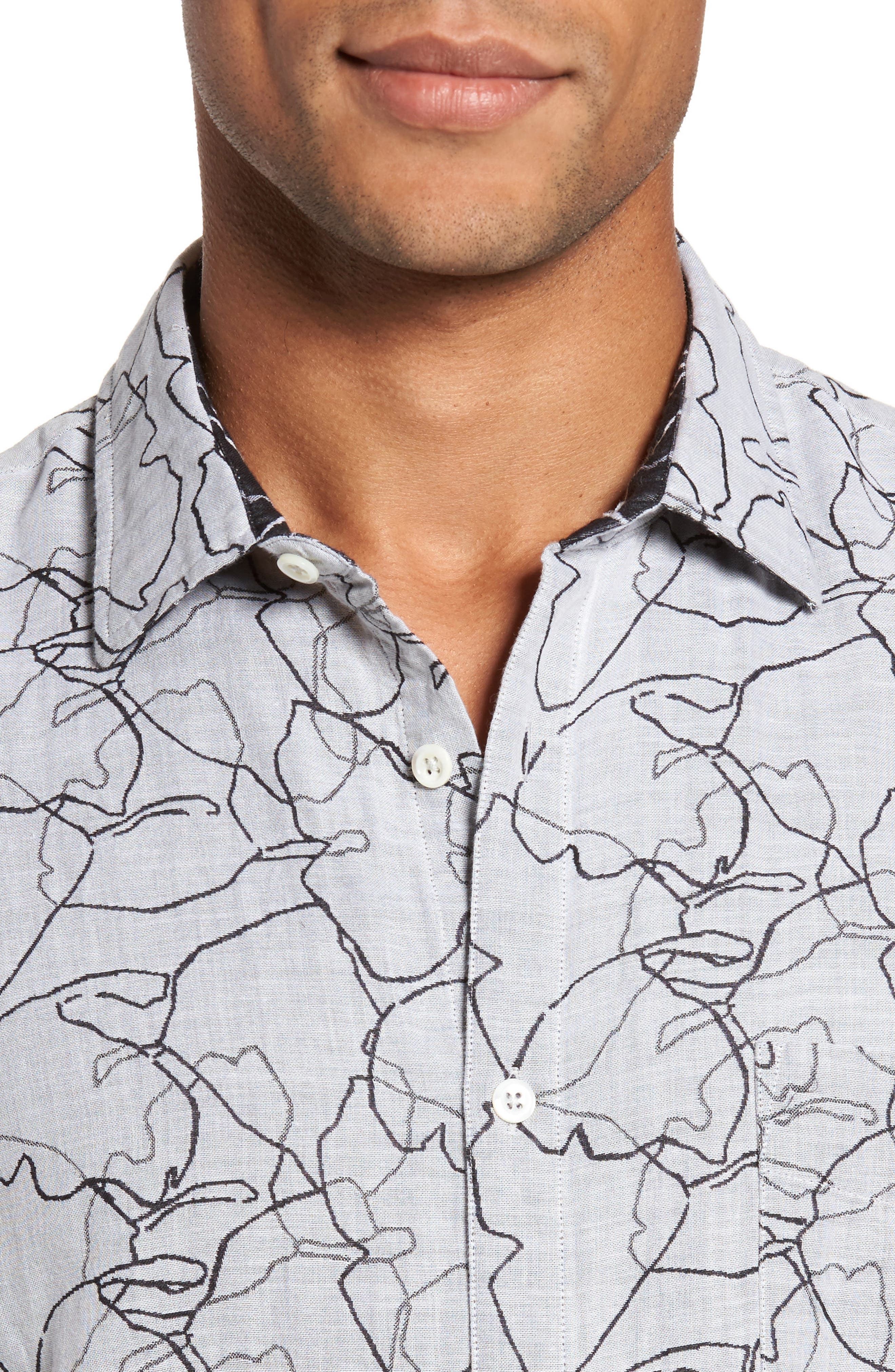 John Print Sport Shirt,                             Alternate thumbnail 2, color,                             White