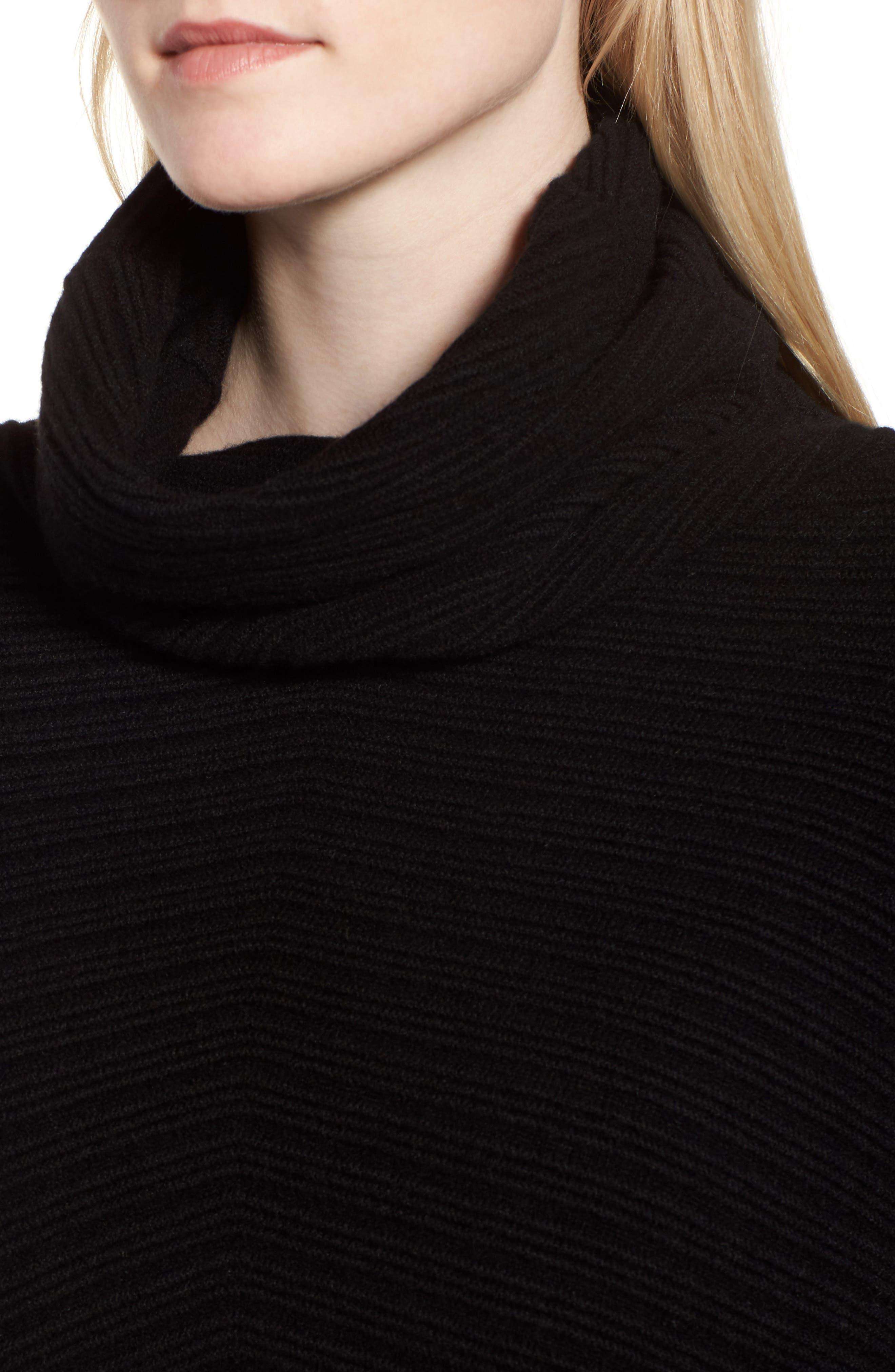 Scrunch Neck Ottoman Knit Cashmere Sweater,                             Alternate thumbnail 4, color,                             Black