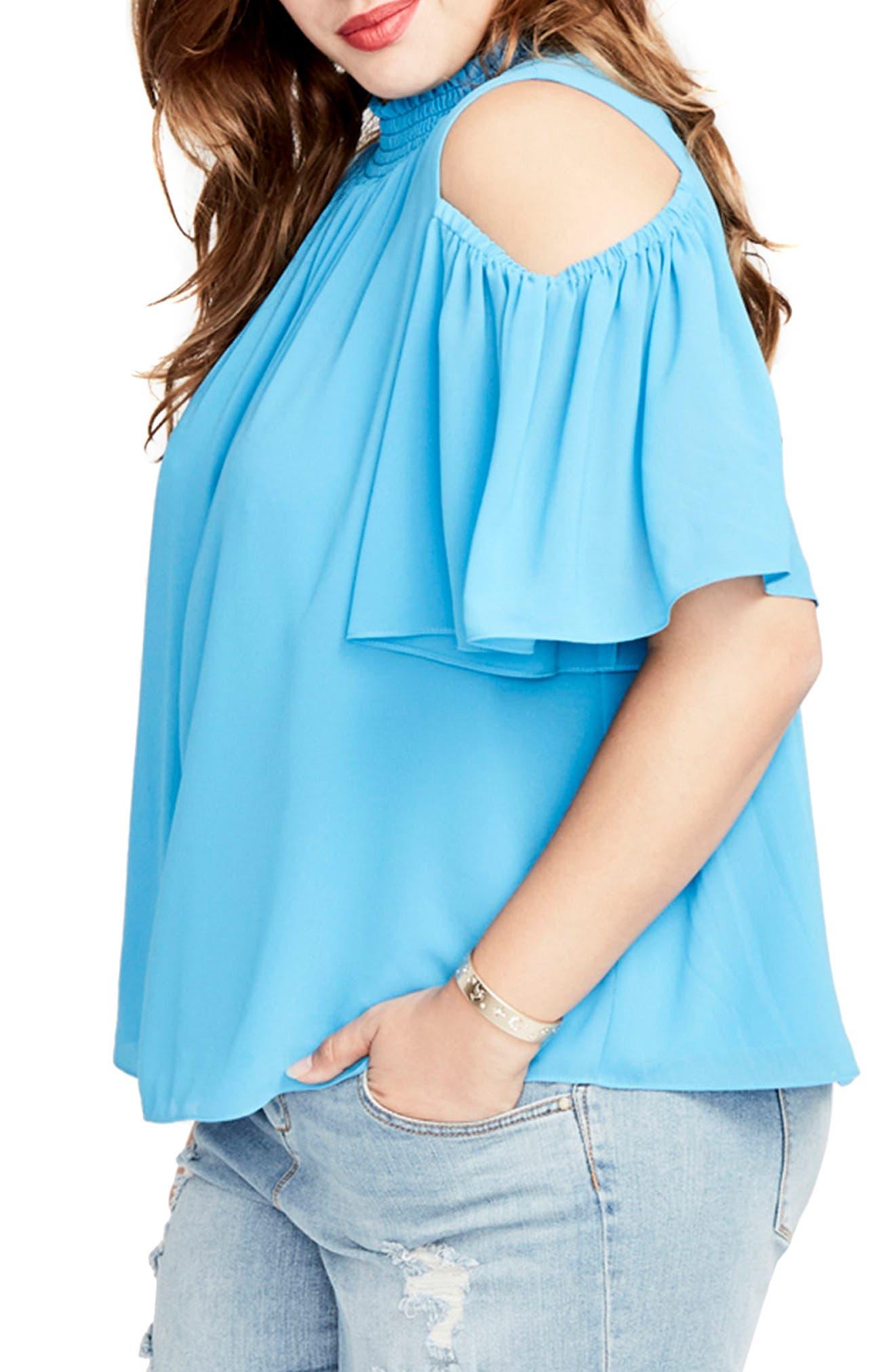 Alternate Image 3  - RACHEL Rachel Roy Smocked Cold Shoulder Top (Plus Size)