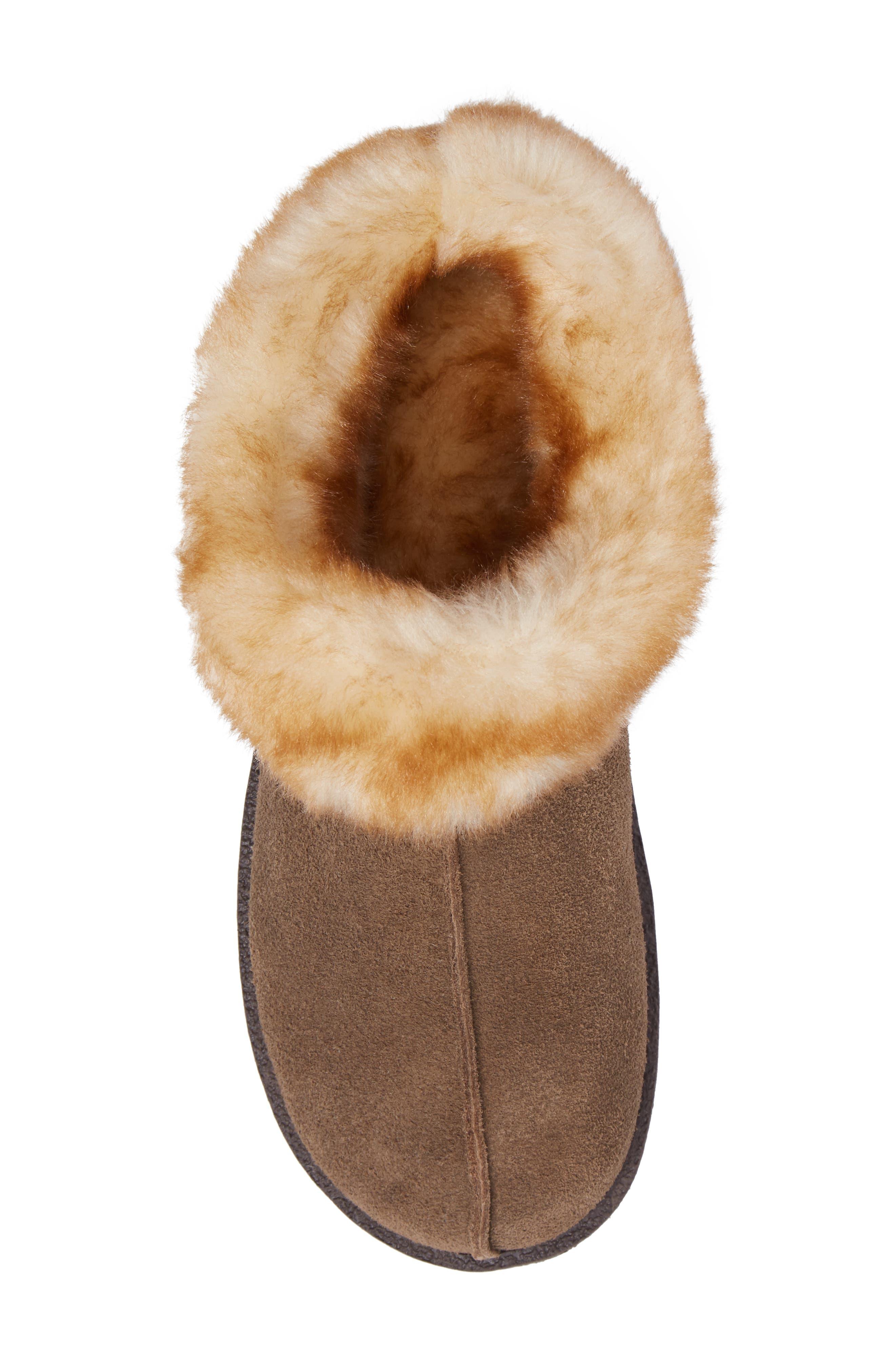Autumn Ridge II Faux Fur Slipper Bootie,                             Alternate thumbnail 5, color,                             Walnut Suede