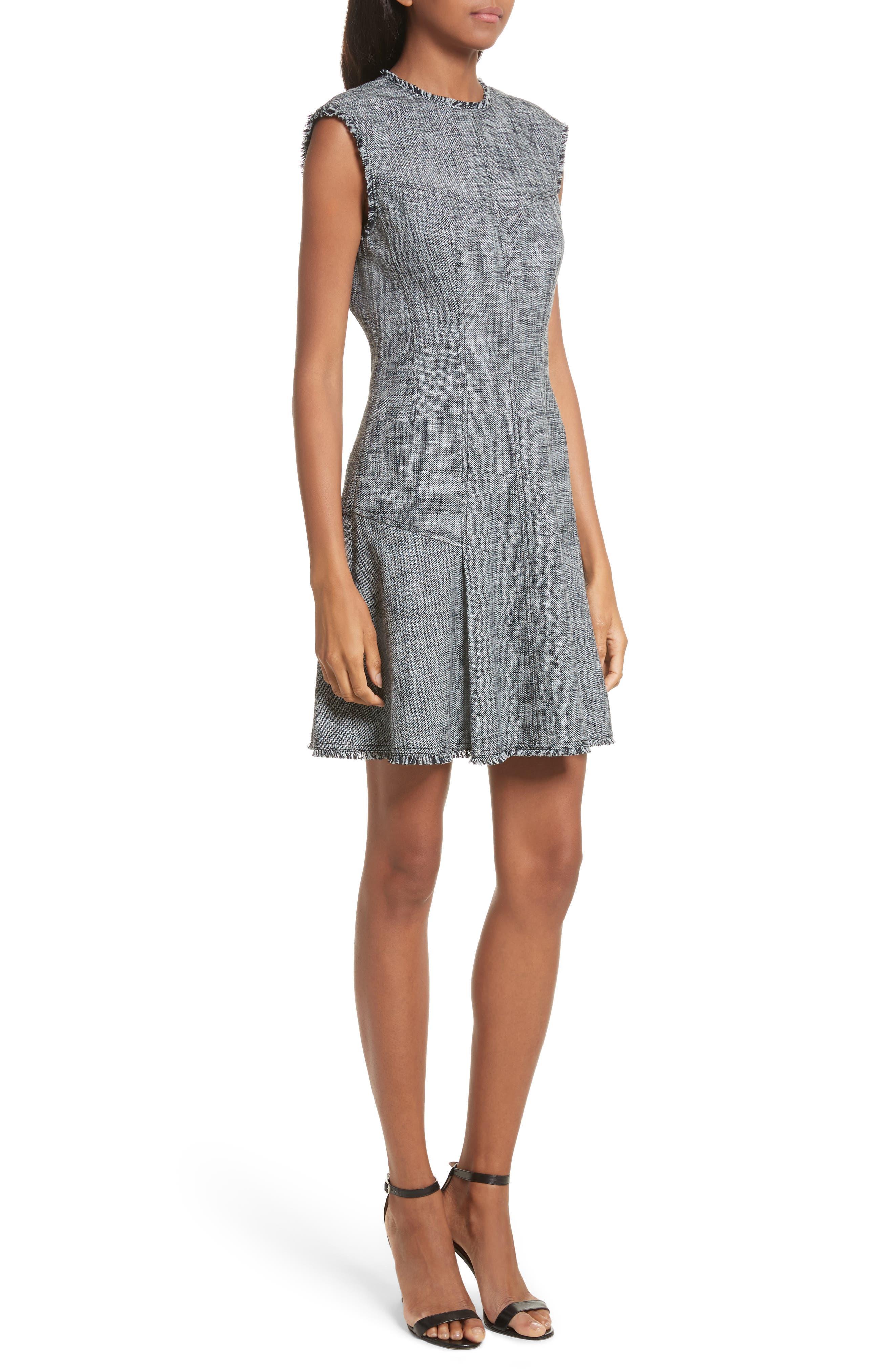 Slub Suiting Fit & Flare Dress,                             Alternate thumbnail 4, color,                             Grey/ Black Combo